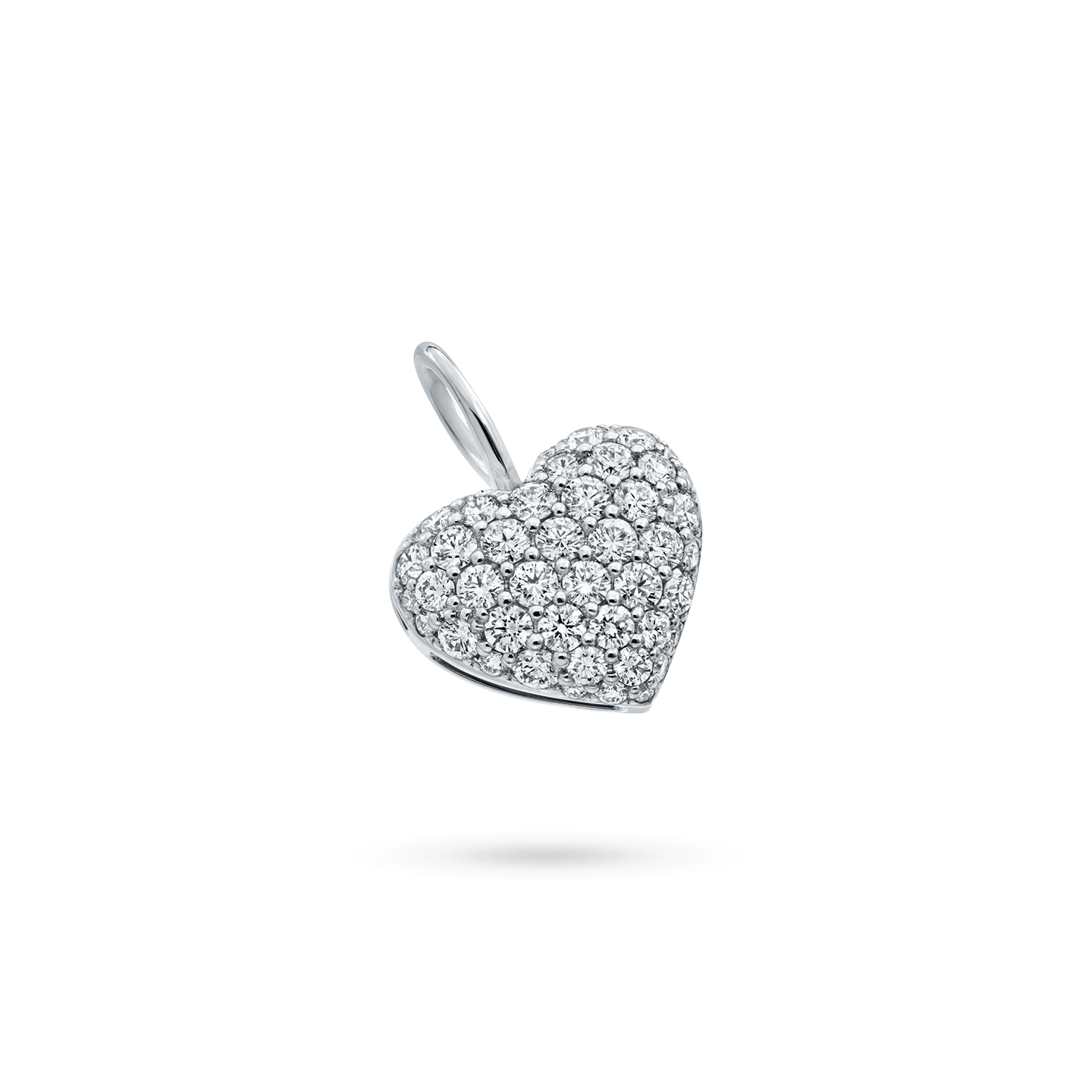 Pavé Heart Charm in Platinum, Product Image 1