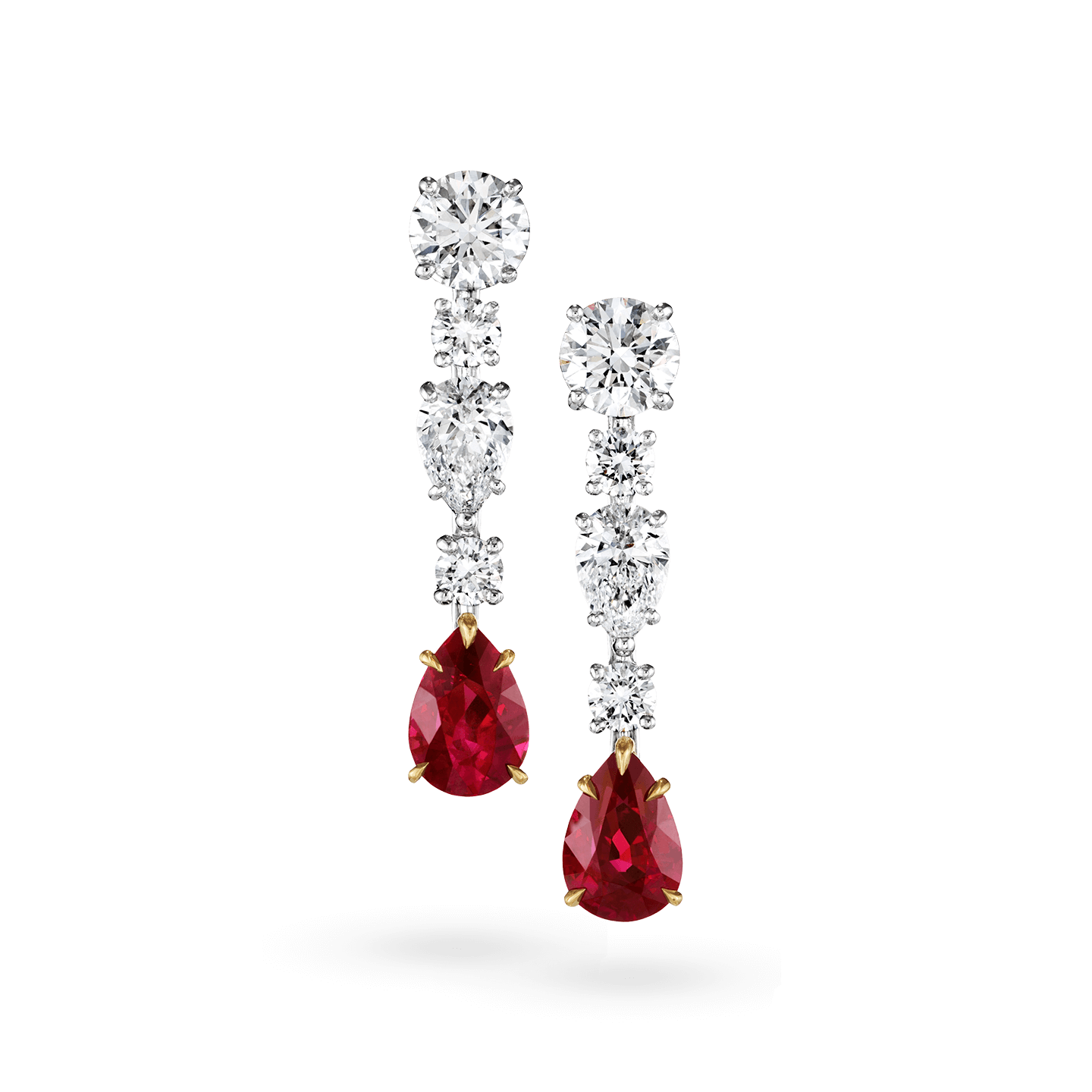 Diamond and Ruby Drop Earrings, Product Image 1