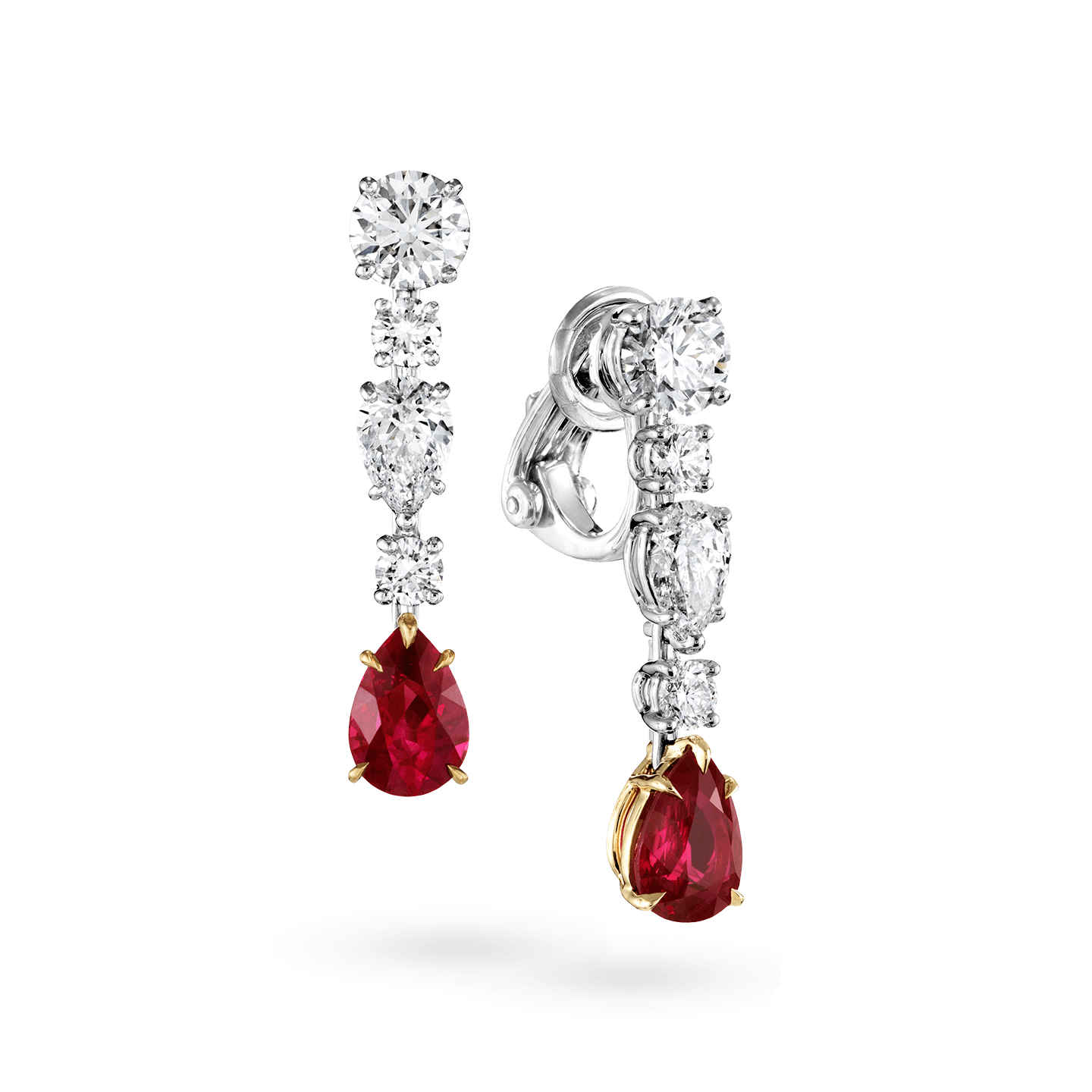 Diamond and Ruby Drop Earrings, Product Image 2