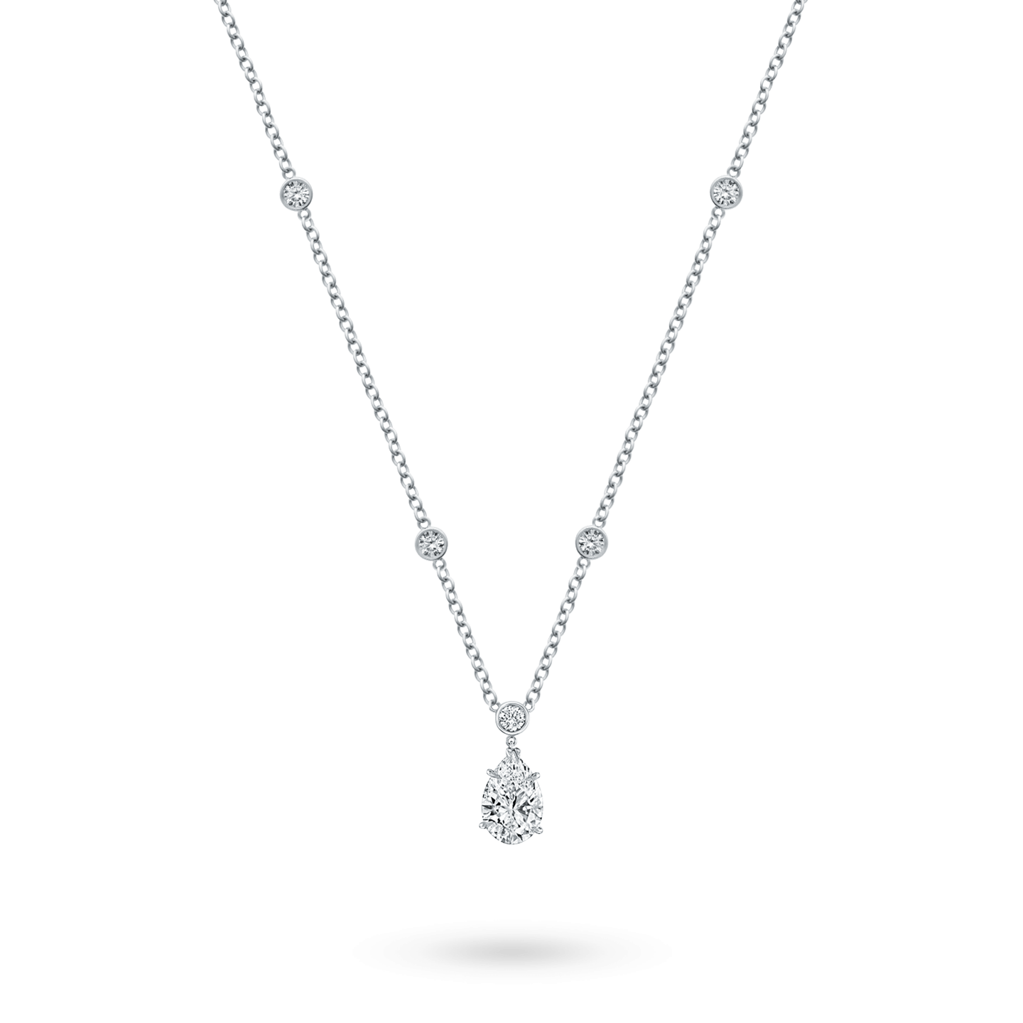 Pear-Shaped Diamond Pendant on a Rondelle Chain, Product Image 2