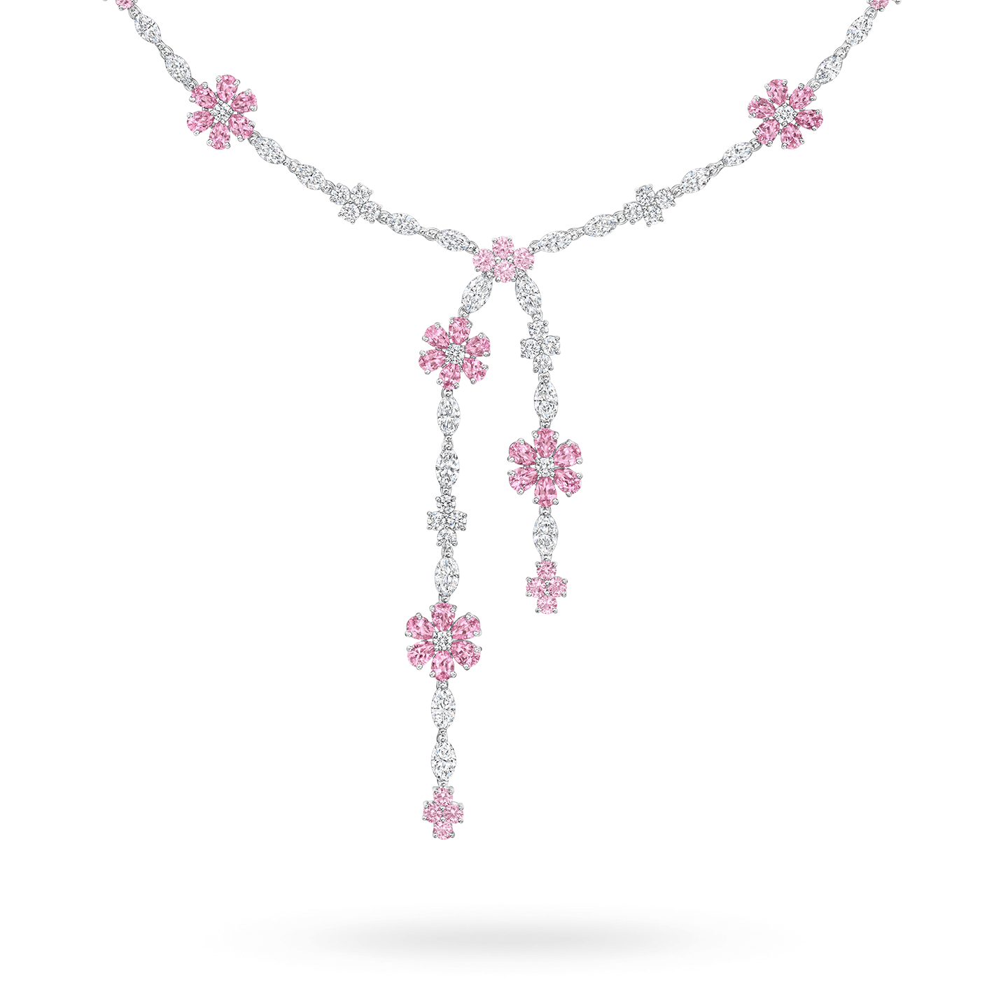 Forget-Me-Not Lariat Pink Sapphire and Diamond Necklace, Product Image 2