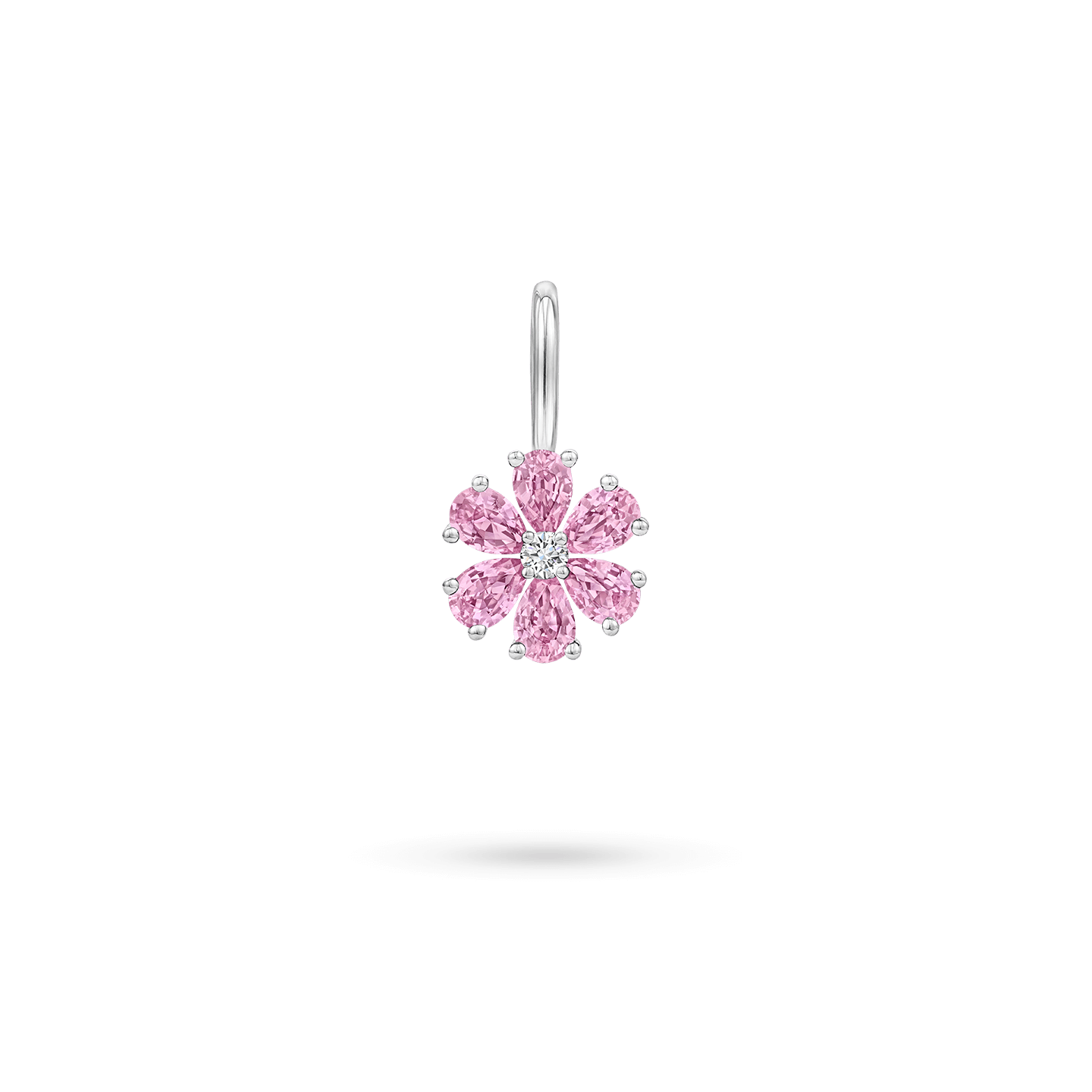 Forget-Me-Not Pink Sapphire and Diamond Charm, Product Image 1