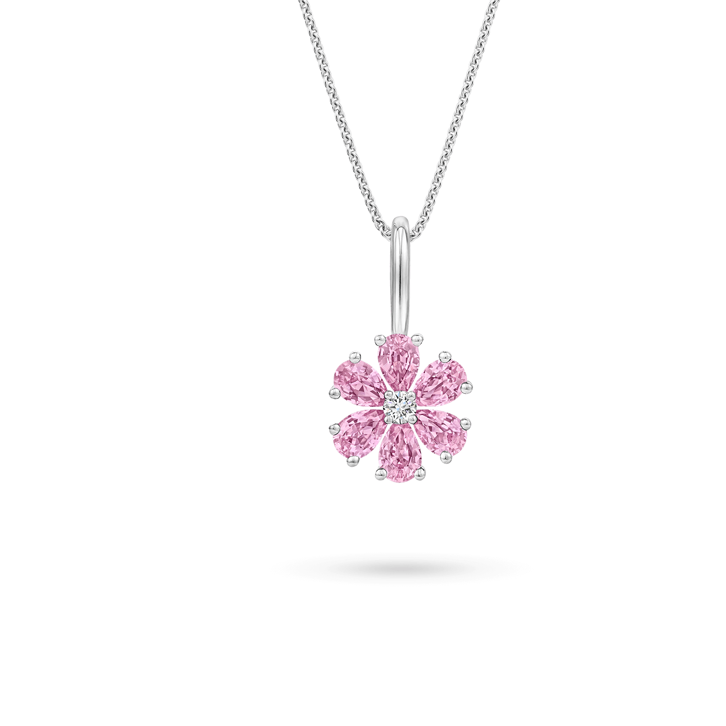 Forget-Me-Not Pink Sapphire and Diamond Charm, Product Image 2