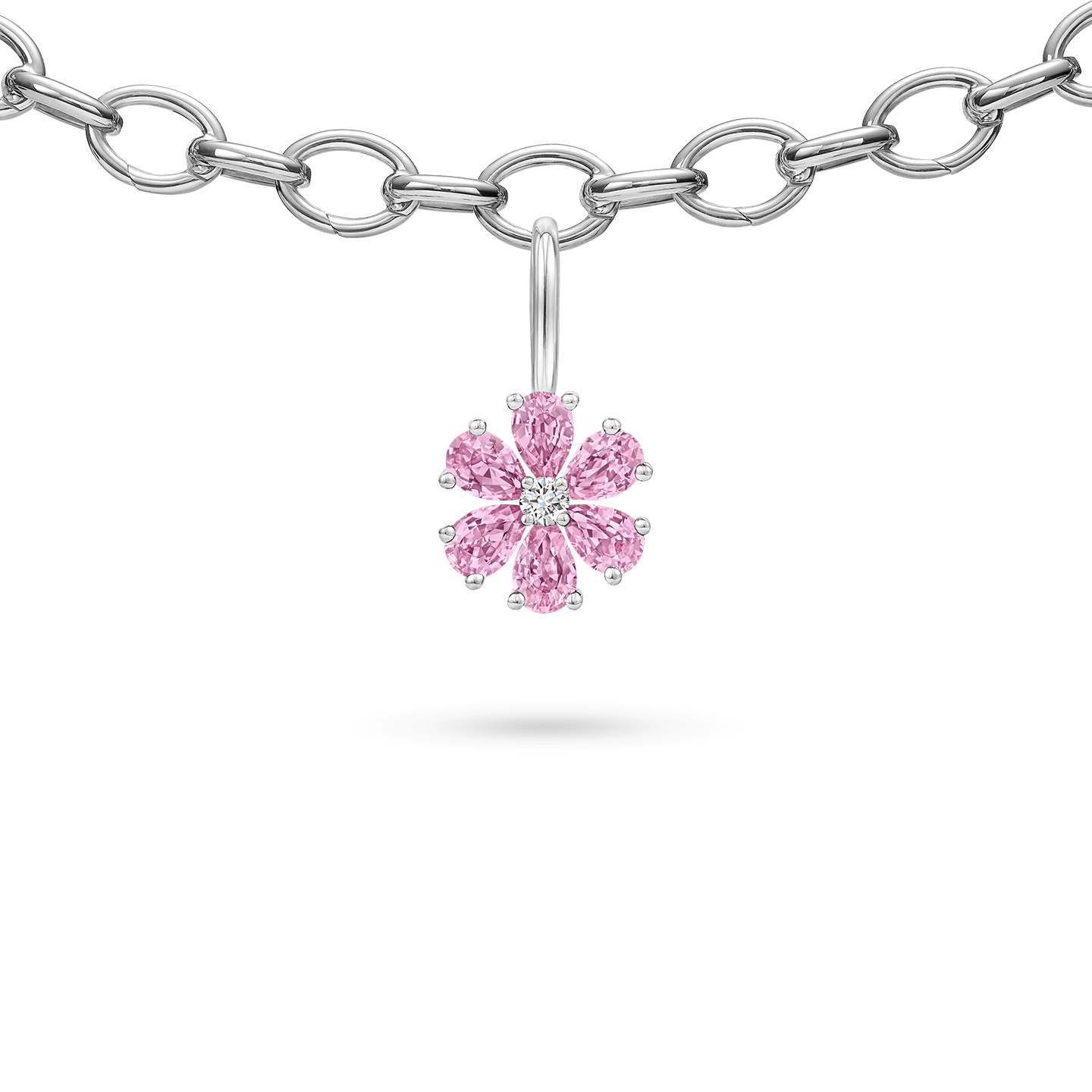 Forget-Me-Not Pink Sapphire and Diamond Charm, Product Image 3