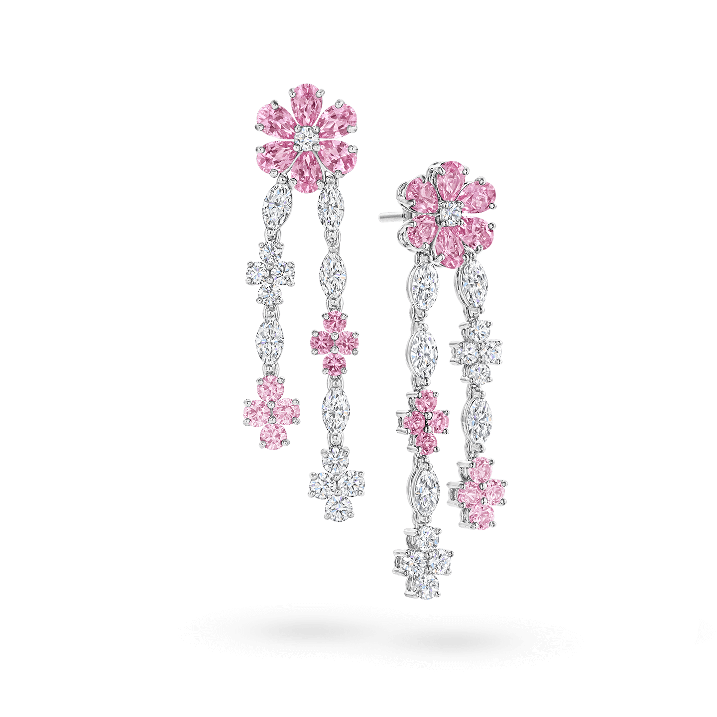 Forget-Me-Not Pink Sapphire and Diamond Drop Earrings, Product Image 2