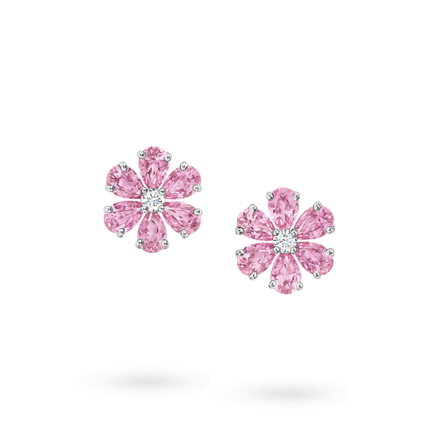 Forget-Me-Not Pink Sapphire and Diamond Earrings, Product Image 1