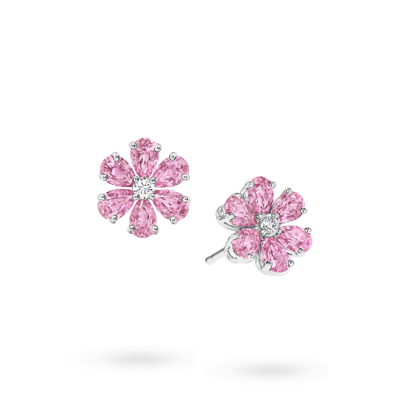 Forget-Me-Not Pink Sapphire and Diamond Earrings, Product Image 2