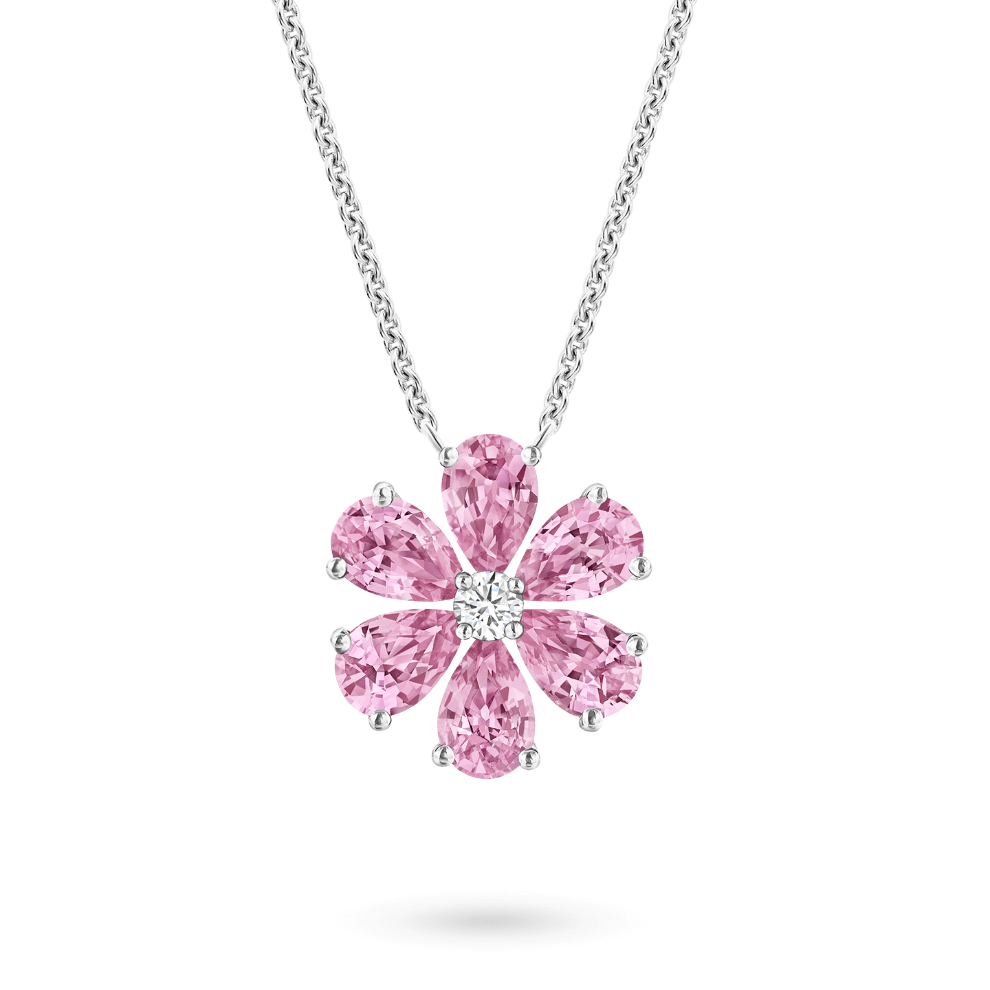 Forget-Me-Not Pink Sapphire and Diamond Pendant, Product Image 1