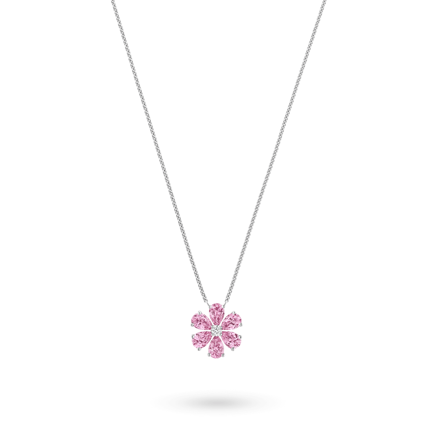 Forget-Me-Not Pink Sapphire and Diamond Pendant, Product Image 2