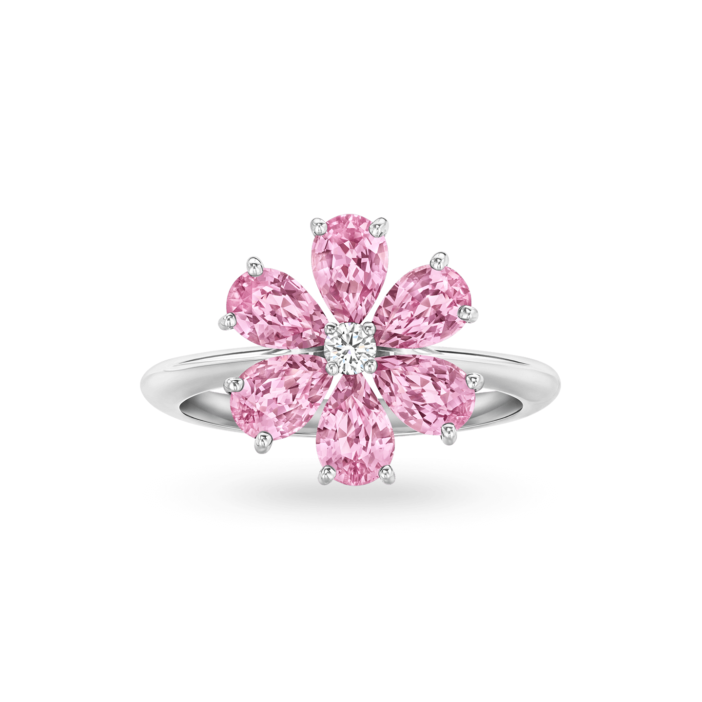 Forget-Me-Not Pink Sapphire and Diamond Ring, Product Image 1