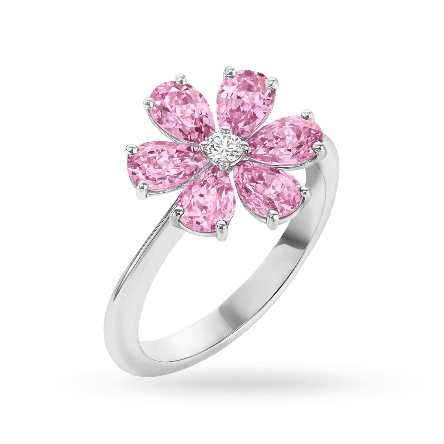 Forget-Me-Not Pink Sapphire and Diamond Ring, Product Image 2
