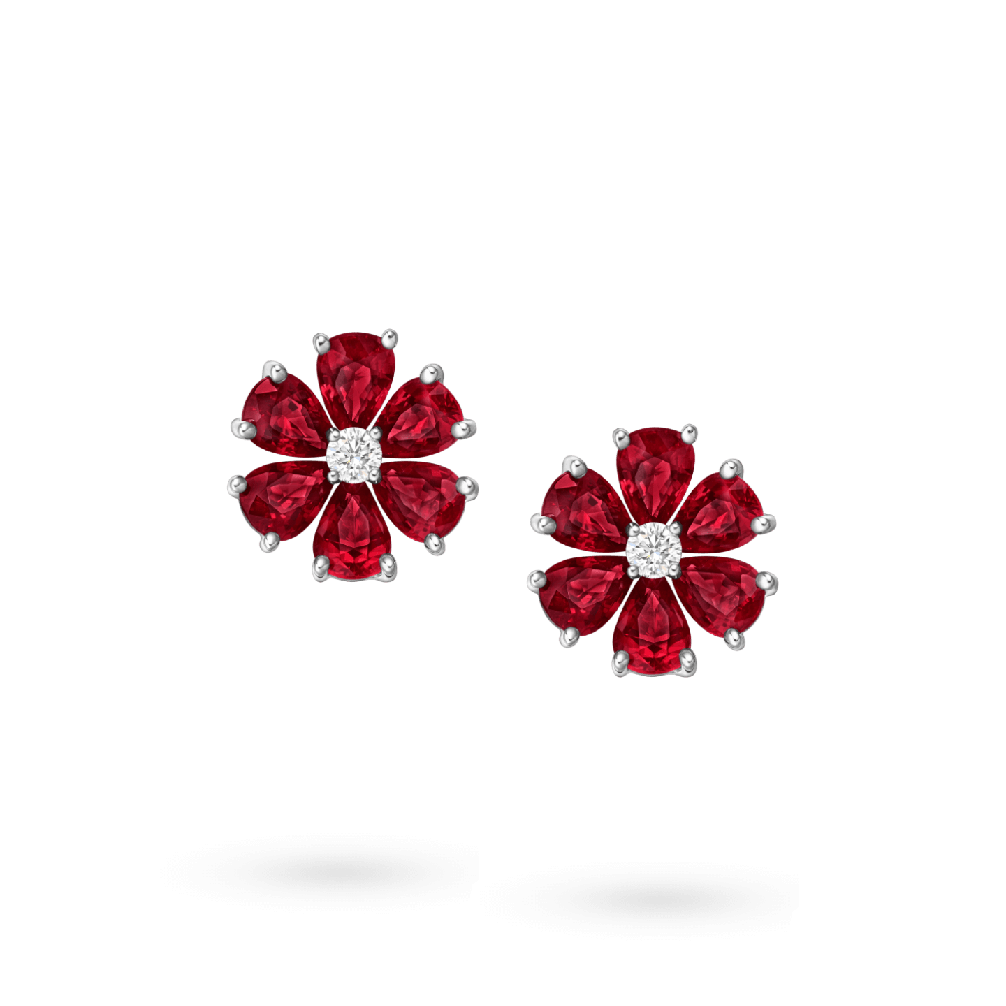 Forget-Me-Not Ruby and Diamond Earrings, Product Image 1