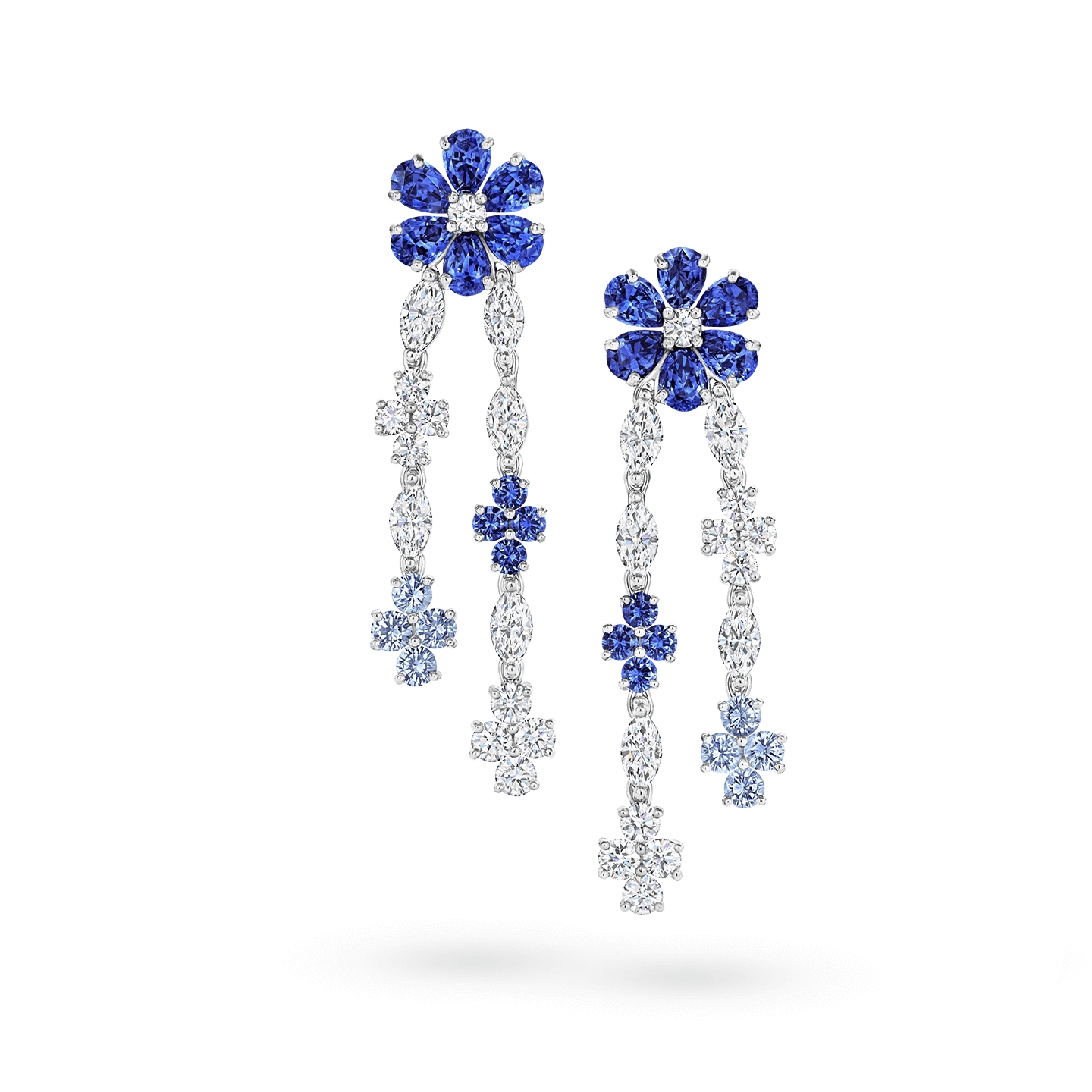 Forget-Me-Not Sapphire and Diamond Drop Earrings, Product Image 1