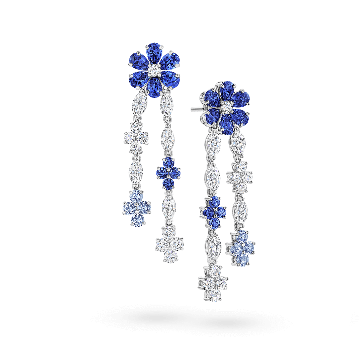 Forget-Me-Not Sapphire and Diamond Drop Earrings, Product Image 2