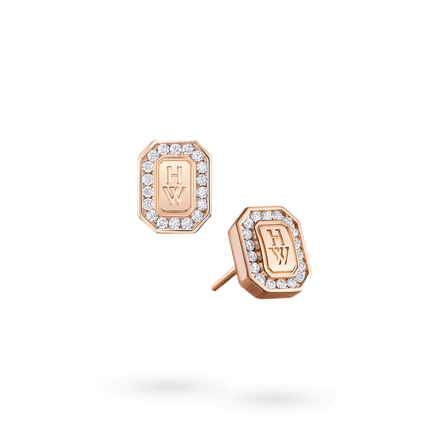 HW Logo Rose Gold Diamond Earrings, Product Image 2