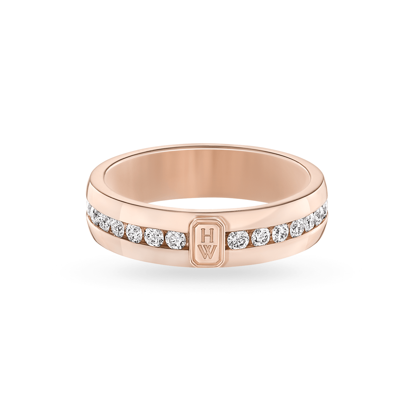 HW Logo Rose Gold Diamond Ring, Product Image 1