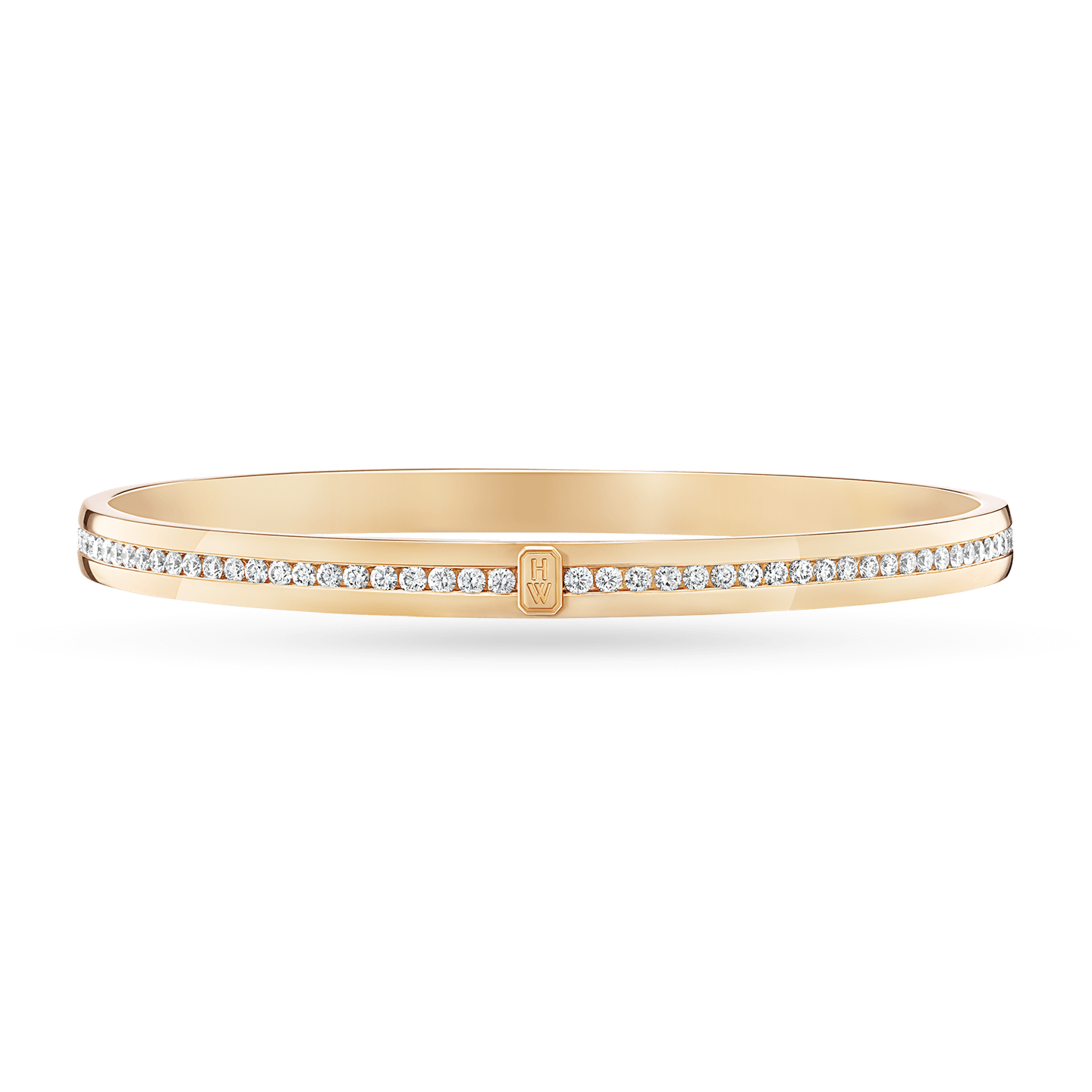 HW Logo Yellow Gold Accent Diamond Bangle Bracelet, Product Image 1