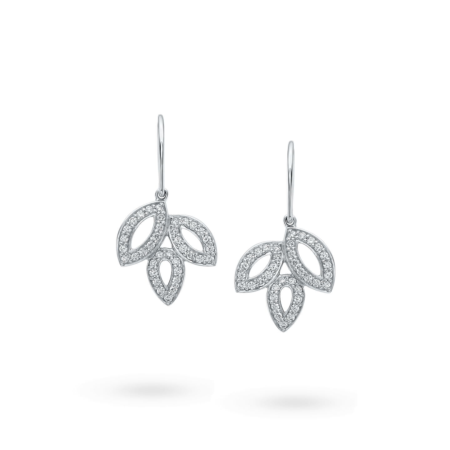 Lily Cluster Small Diamond Earrings on Platinum Wire, Product Image 1