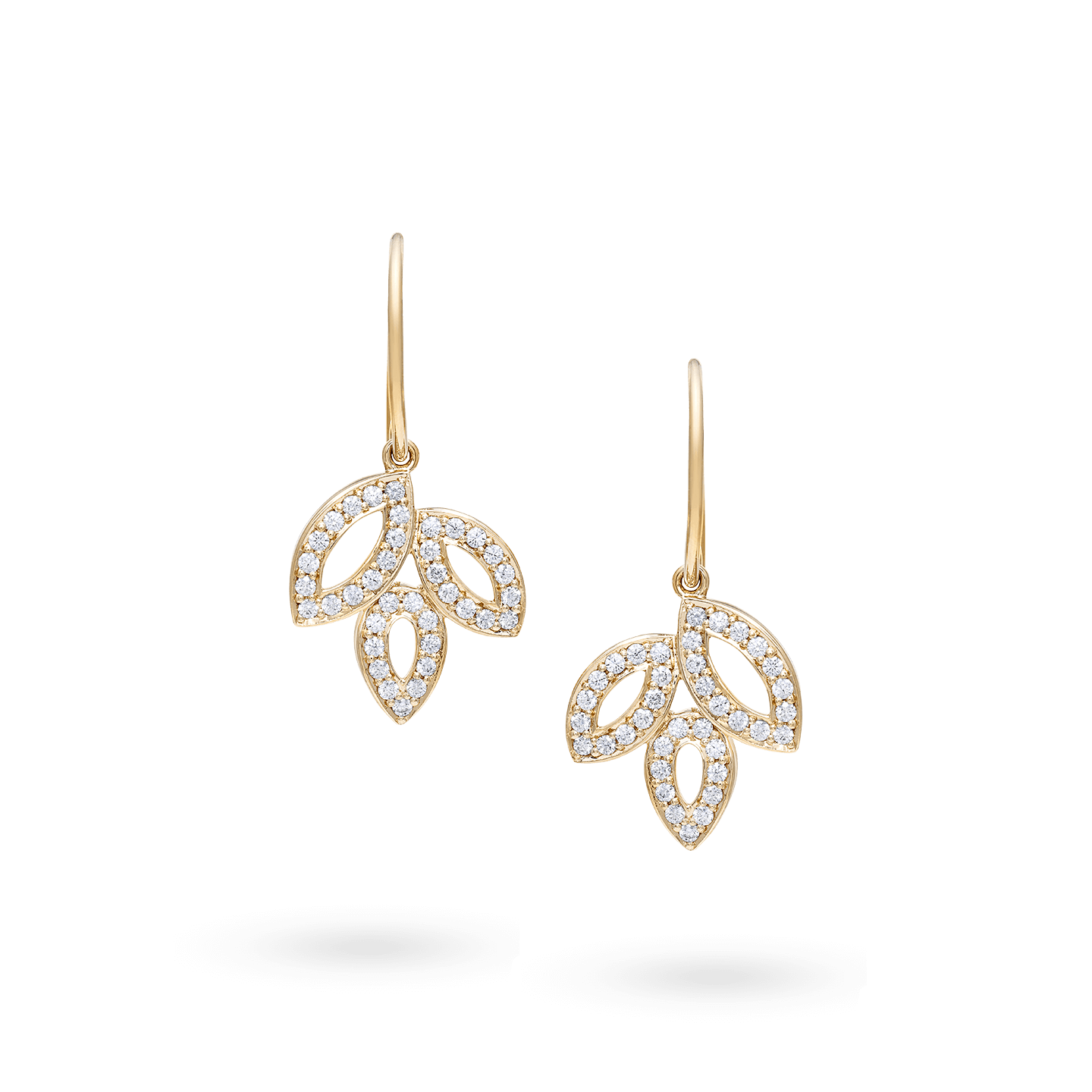 Lily Cluster Small Diamond Earrings on Yellow Gold Wire, Product Image 1