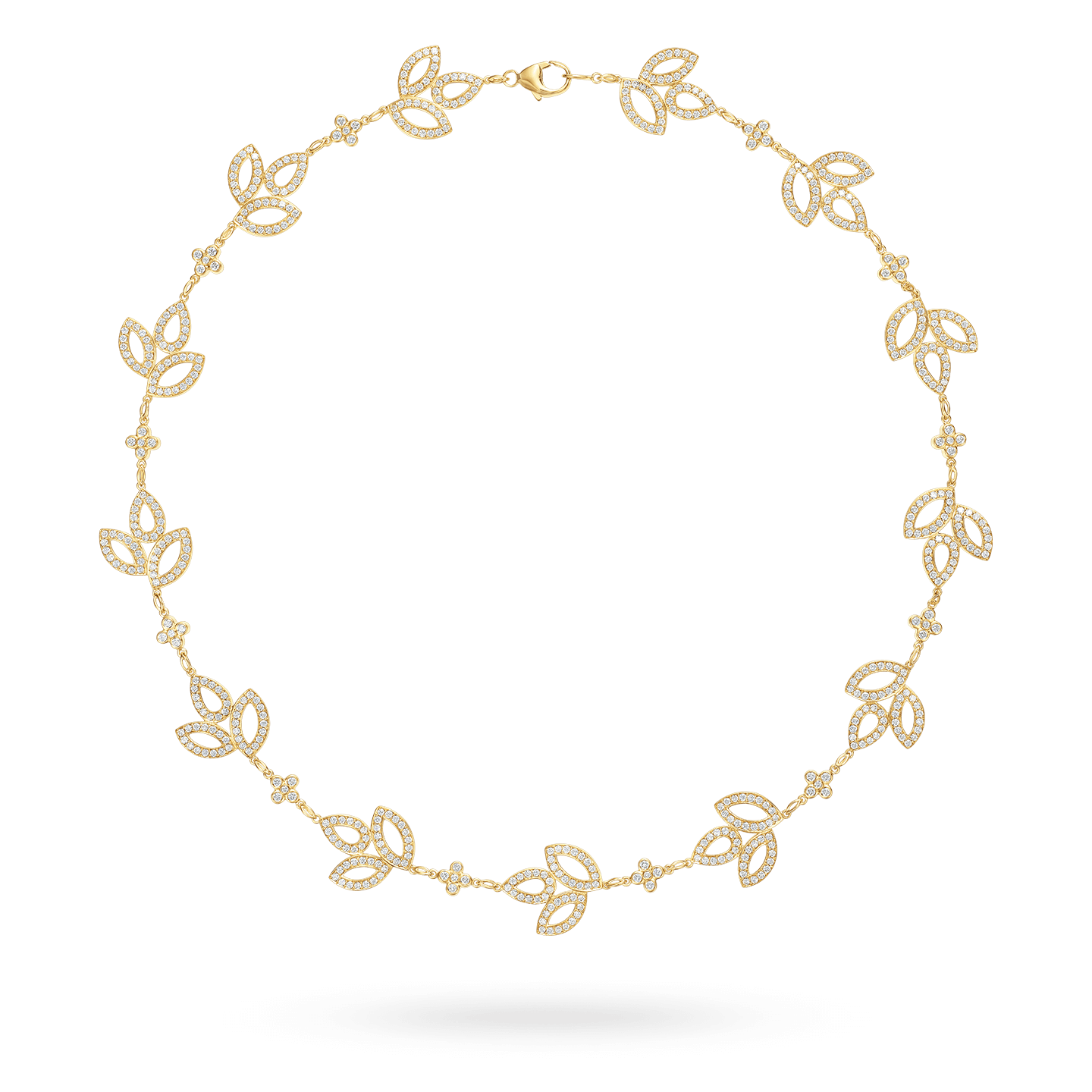 Lily Cluster Diamond Necklace in Yellow Gold, Product Image 1