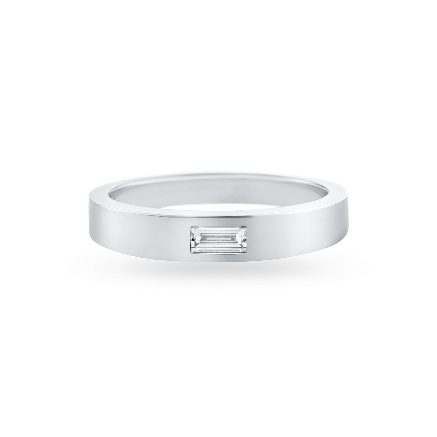 Baguette-Cut Single Diamond Wedding Band, Product Image 1