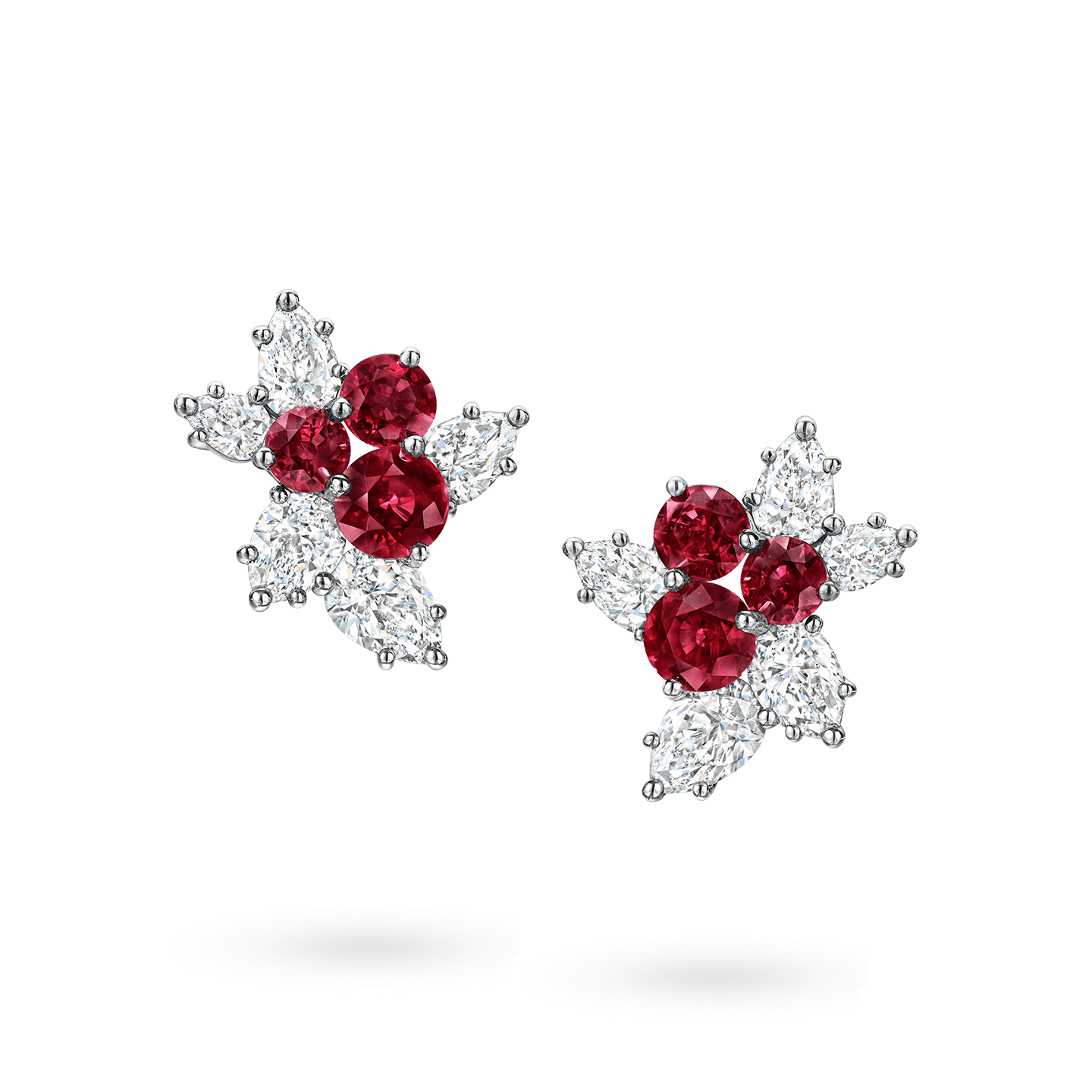 Berry Cluster Ruby and Diamond Earrings, Product Image 1