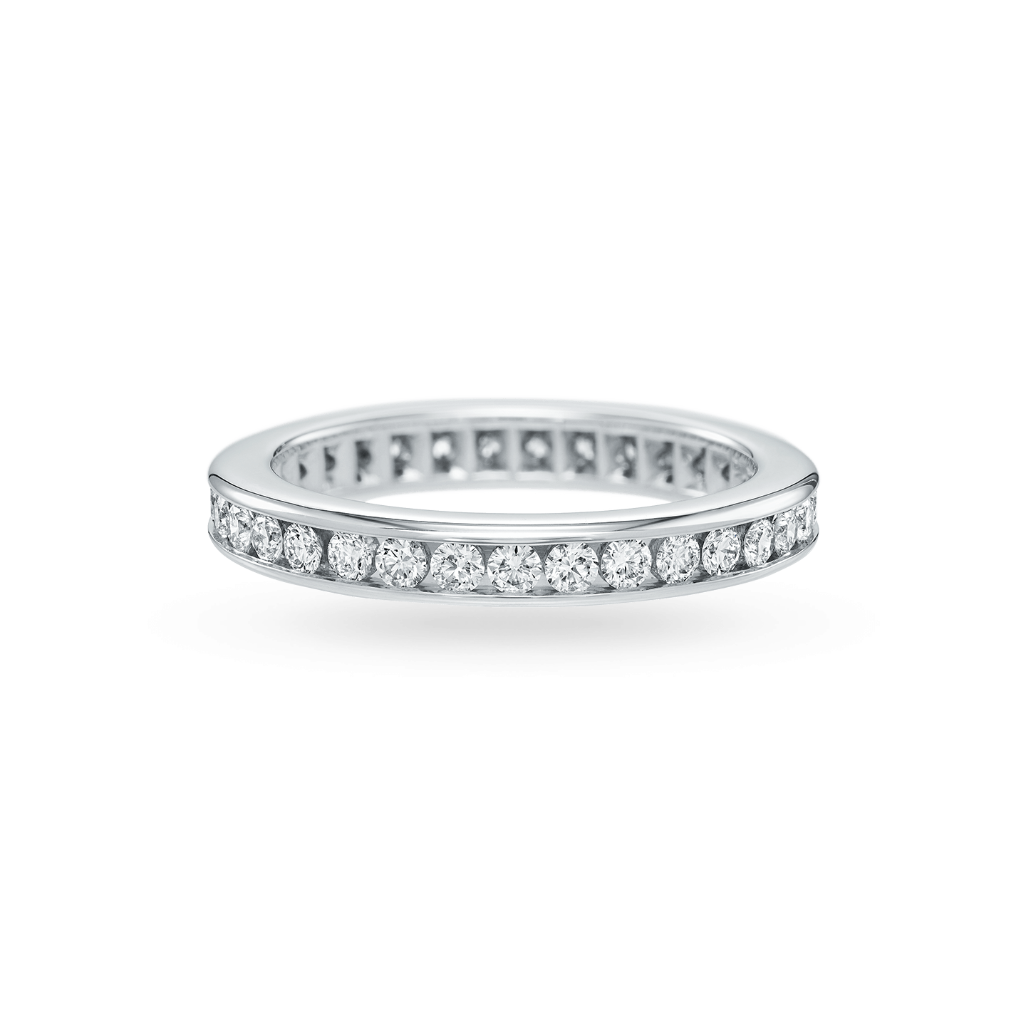 Channel-Set Round Brilliant Diamond Wedding Band, Product Image 1