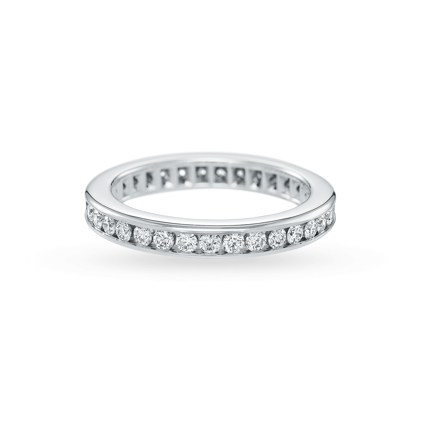 Channel-Set Round Brilliant Diamond Wedding Band, Product Image 2