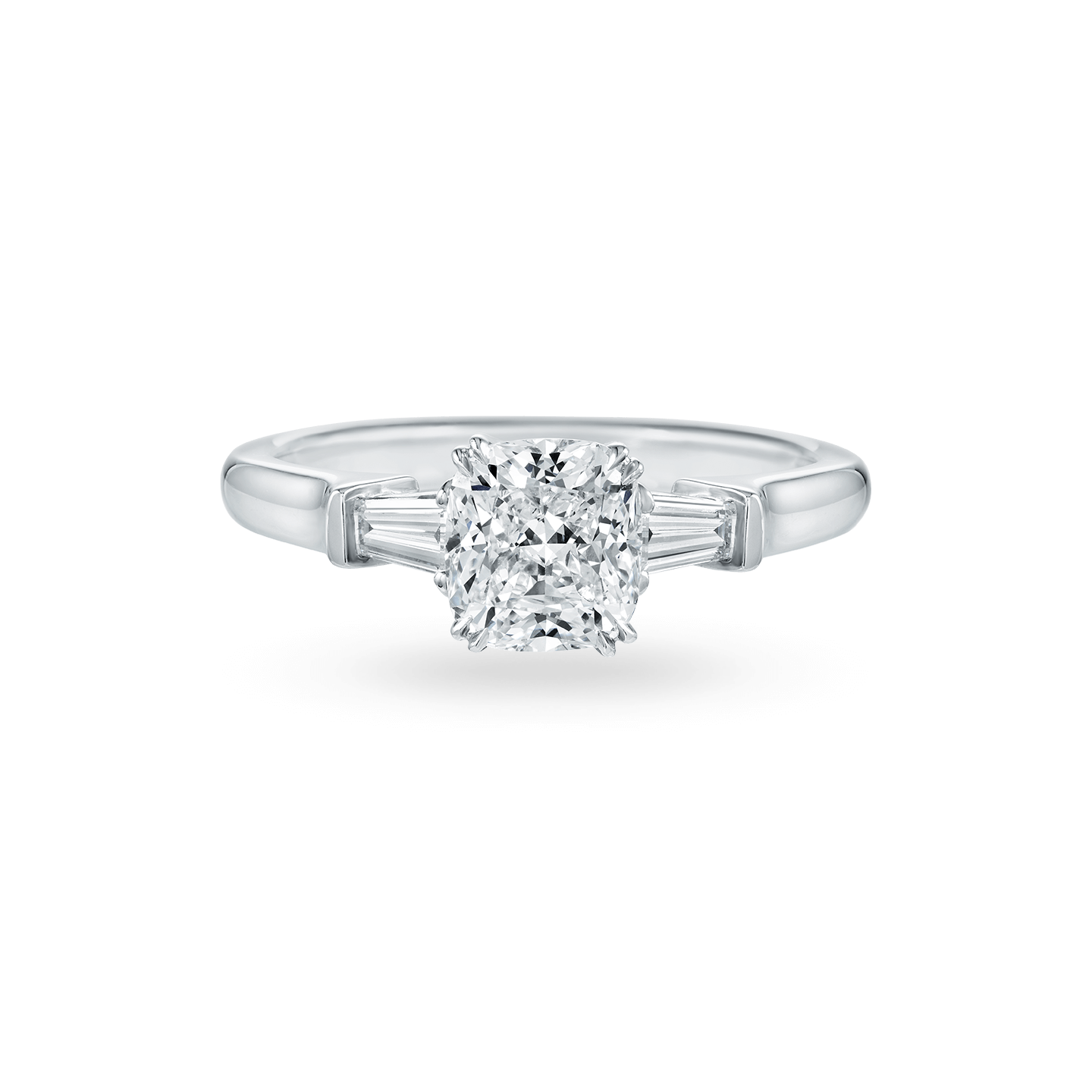 Classic Winston Cushion-Cut Engagement Ring with Tapered Baguette Side Stones, Product Image 1