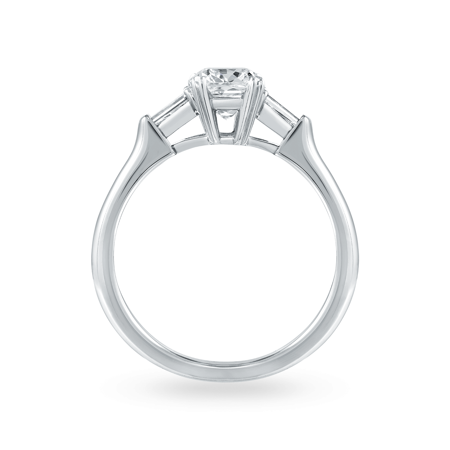 Classic Winston Cushion-Cut Engagement Ring with Tapered Baguette Side Stones, Product Image 2