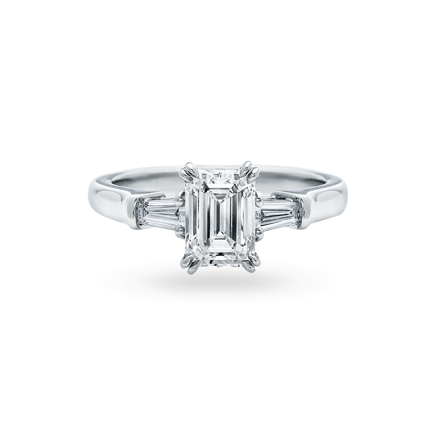 Classic Winston Emerald-Cut Engagement Ring with Tapered Baguette Side Stones, Product Image 1