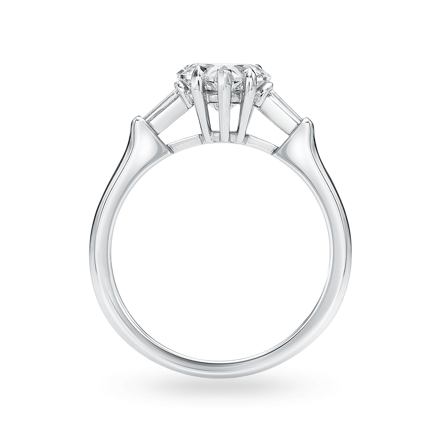 Classic Winston Heart-Shaped Engagement Ring with Tapered Baguette Side Stones, Product Image 2