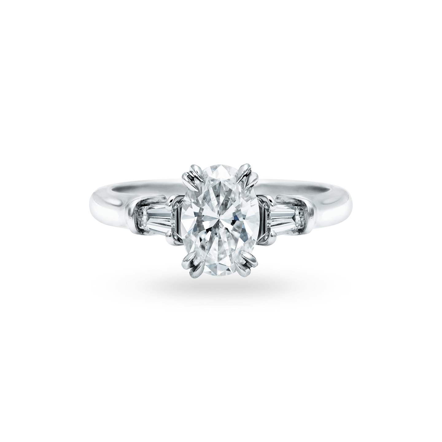 Classic Winston Oval-Shaped Engagement Ring with Tapered Baguette Side Stones, Product Image 1