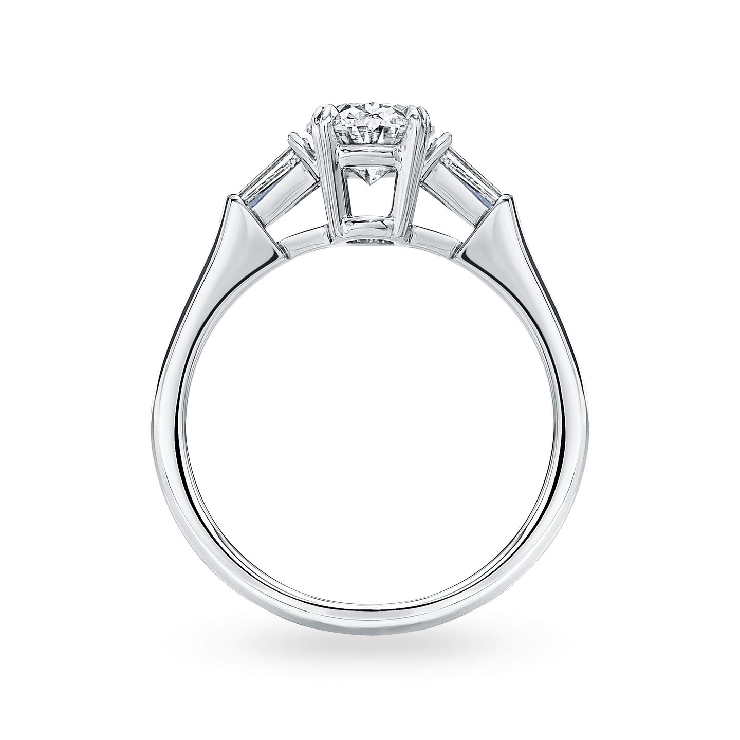 Classic Winston Oval-Shaped Engagement Ring with Tapered Baguette Side Stones, Product Image 2