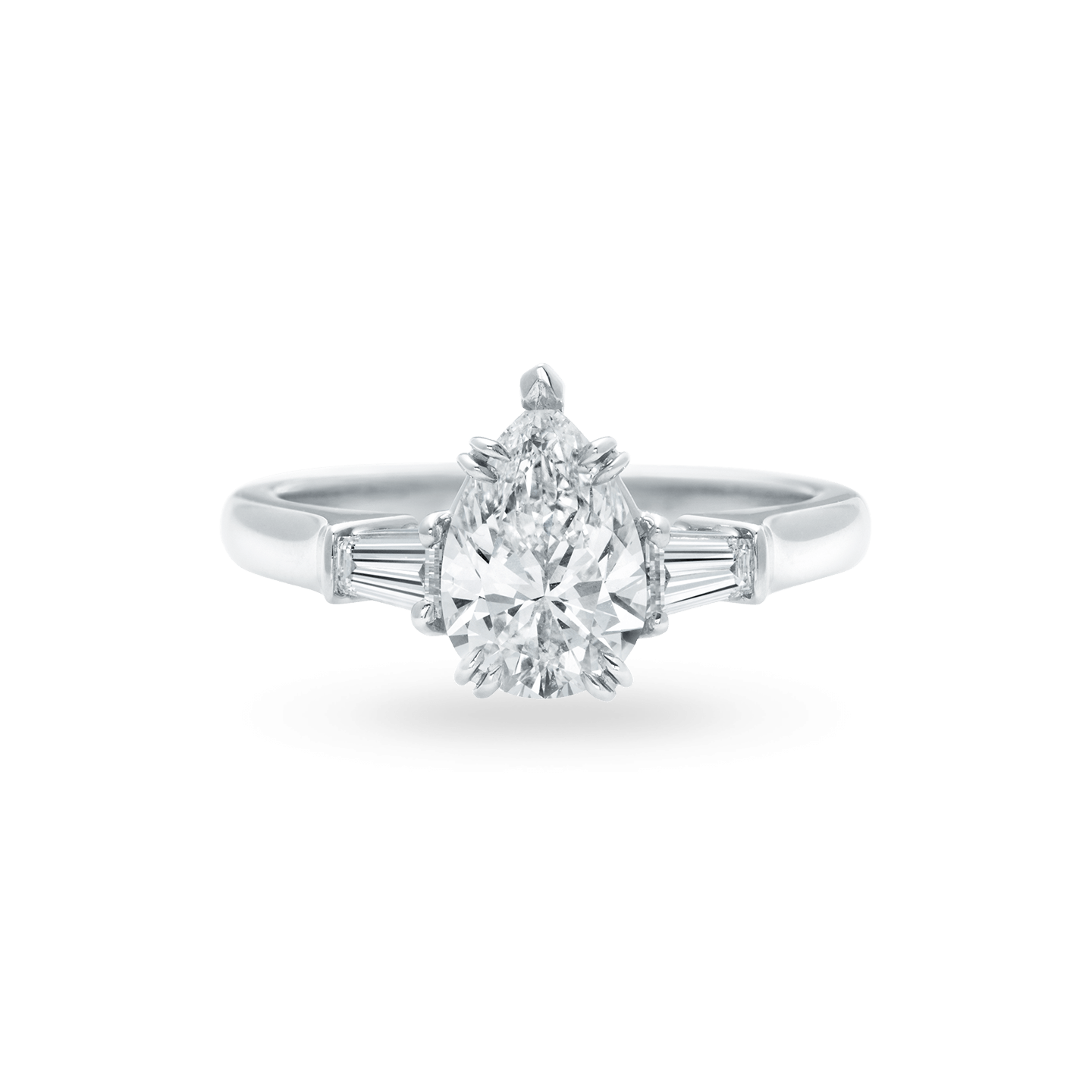 Classic Winston Pear-Shaped Engagement Ring with Tapered Baguette Side Stones, Product Image 1