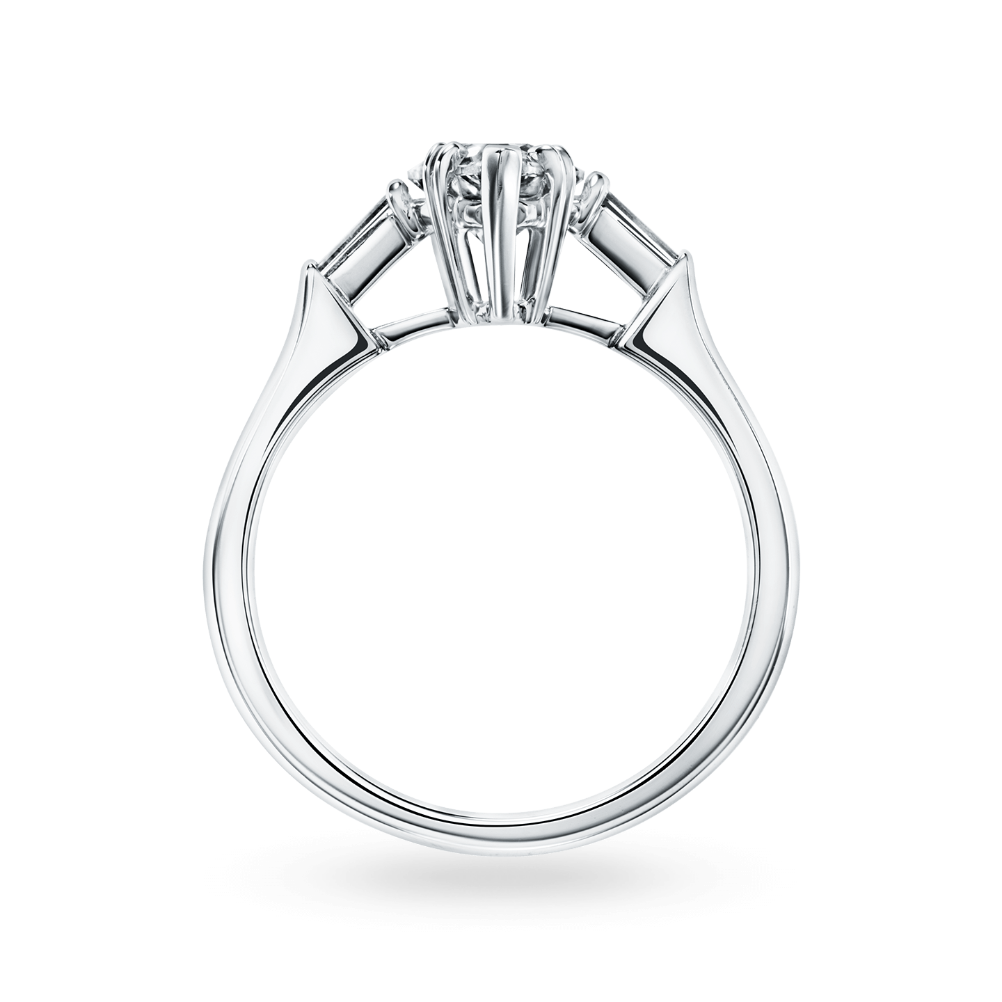 Classic Winston Pear-Shaped Engagement Ring with Tapered Baguette Side Stones, Product Image 2