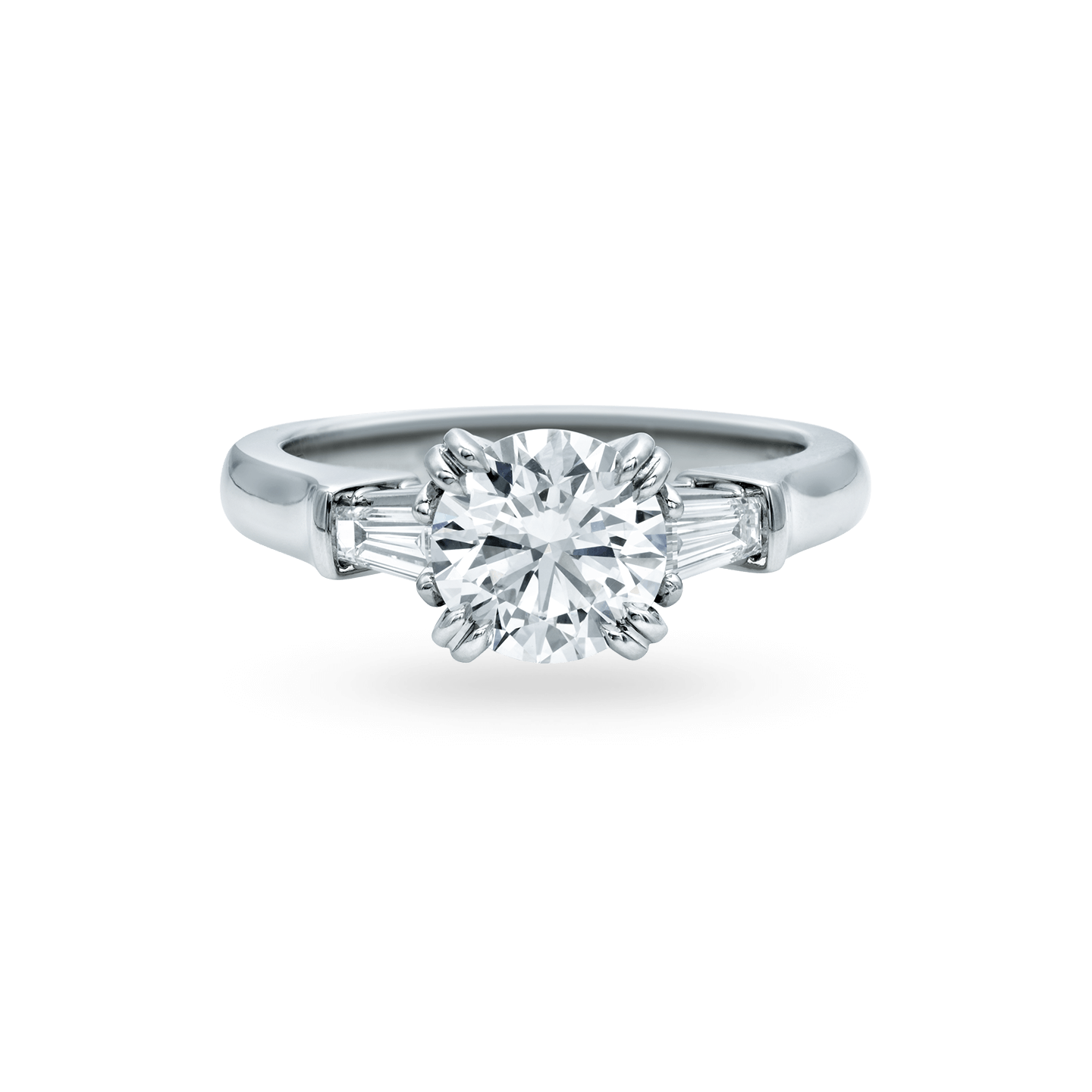 Classic Winston Round Brilliant Engagement Ring with Tapered Baguette Side Stones, Product Image 1