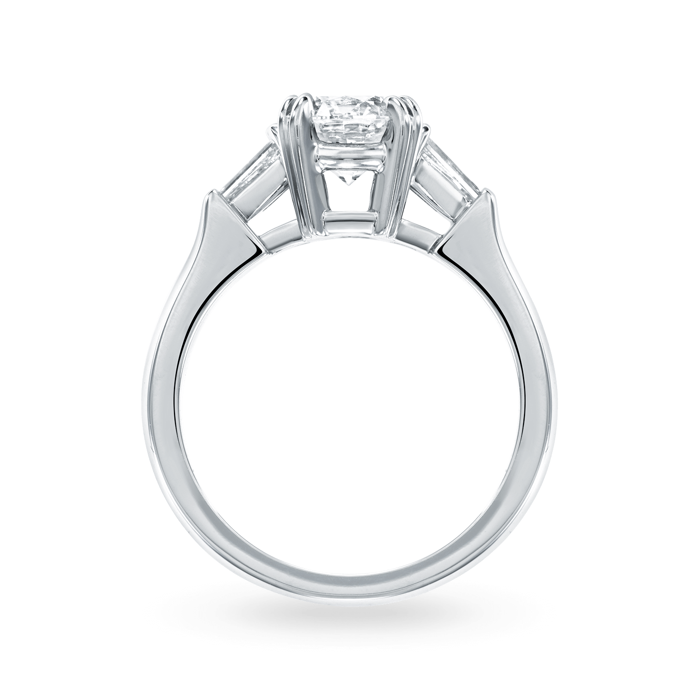 Classic Winston Round Brilliant Engagement Ring with Tapered Baguette Side Stones, Product Image 2