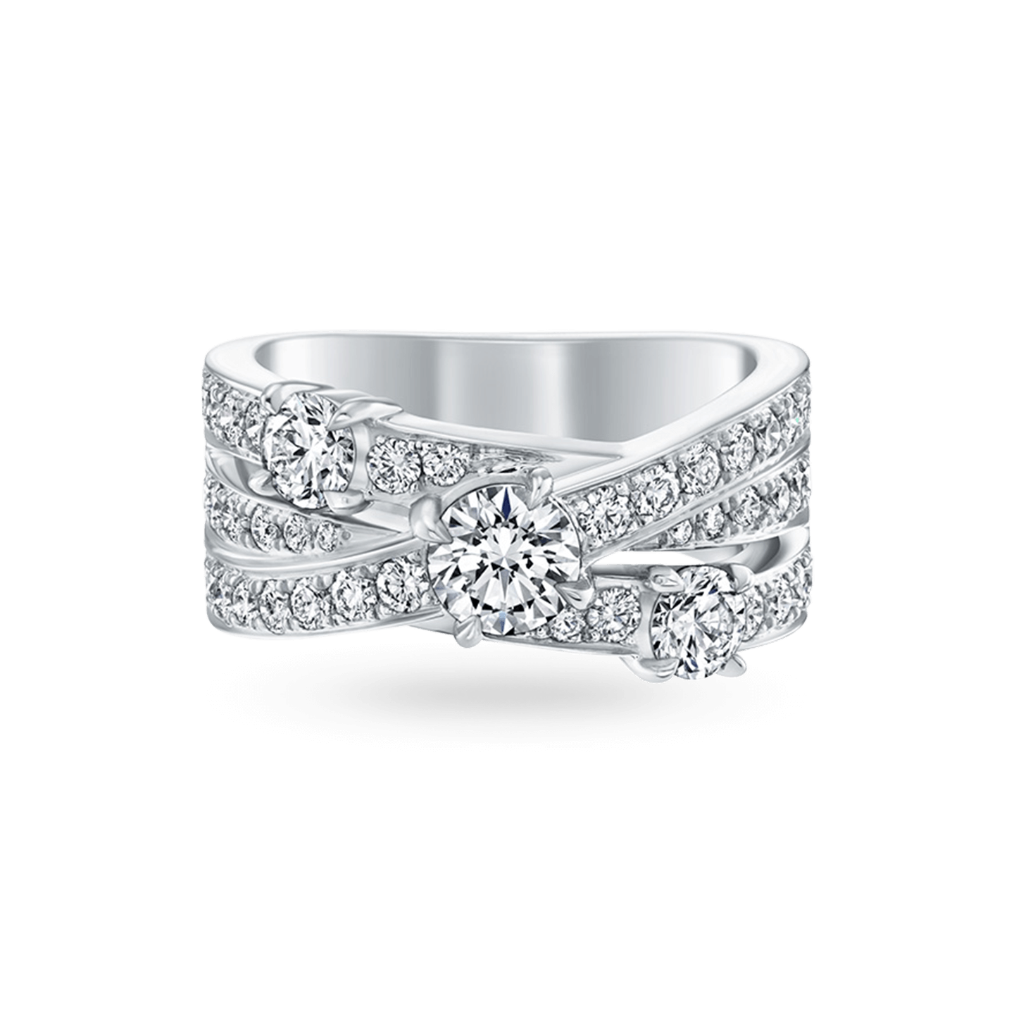 Crossover Diamond 3-Row Ring, Product Image 1