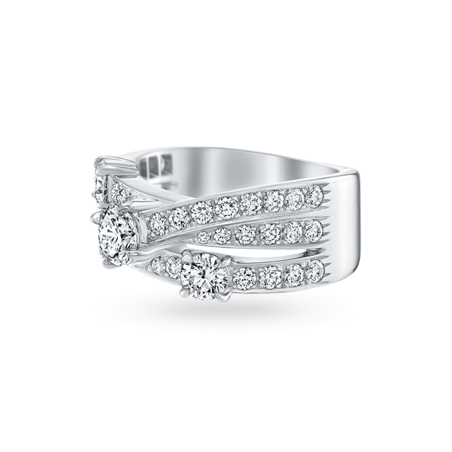 Crossover Diamond 3-Row Ring, Product Image 2