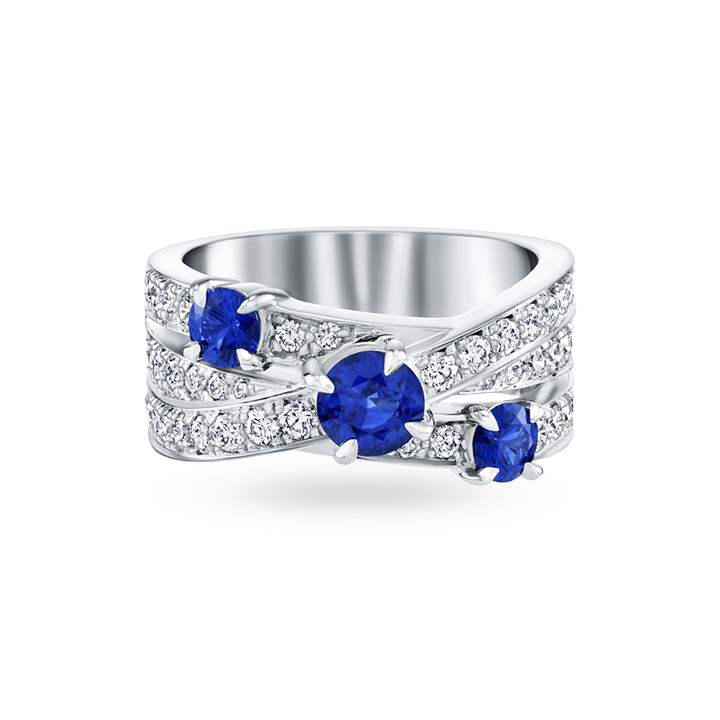 Crossover Sapphire 3-Row Ring, Product Image 1
