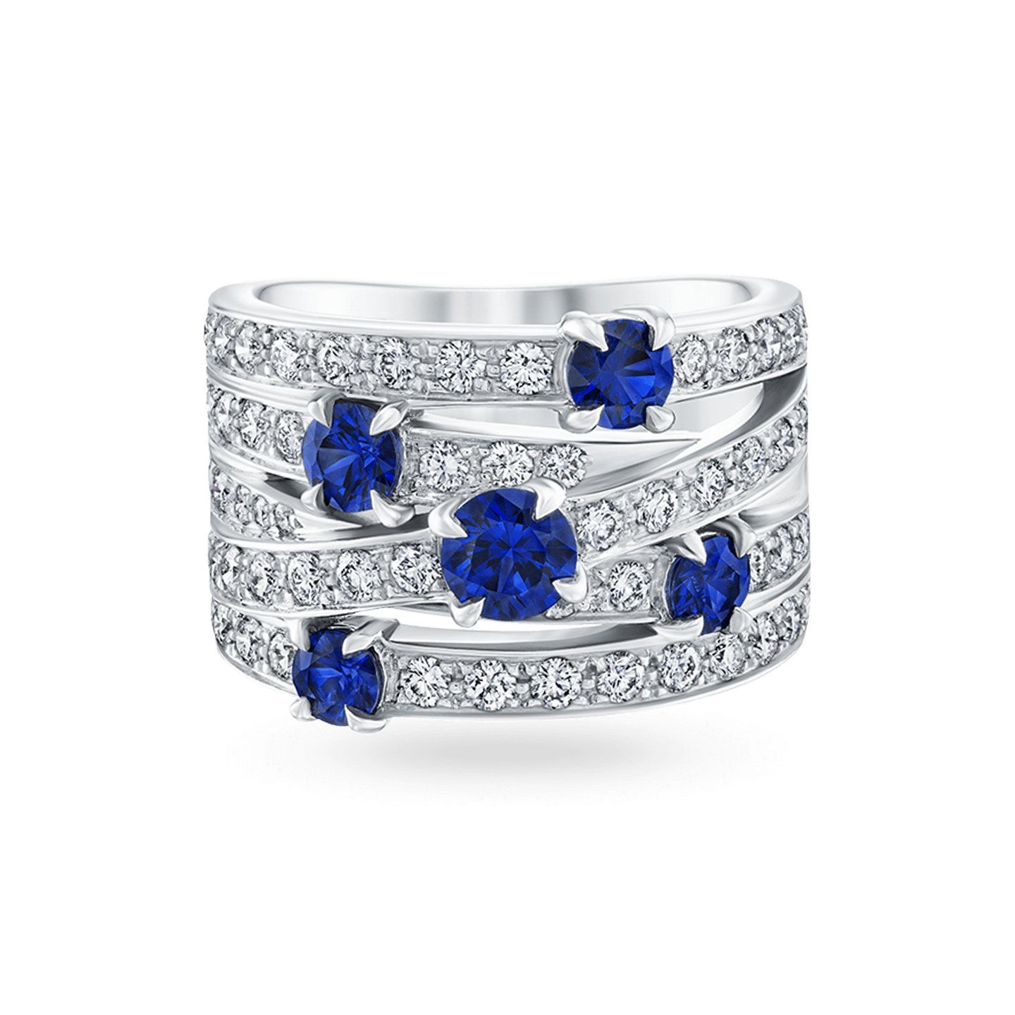 Crossover Sapphire 5-Row Ring, Product Image 1