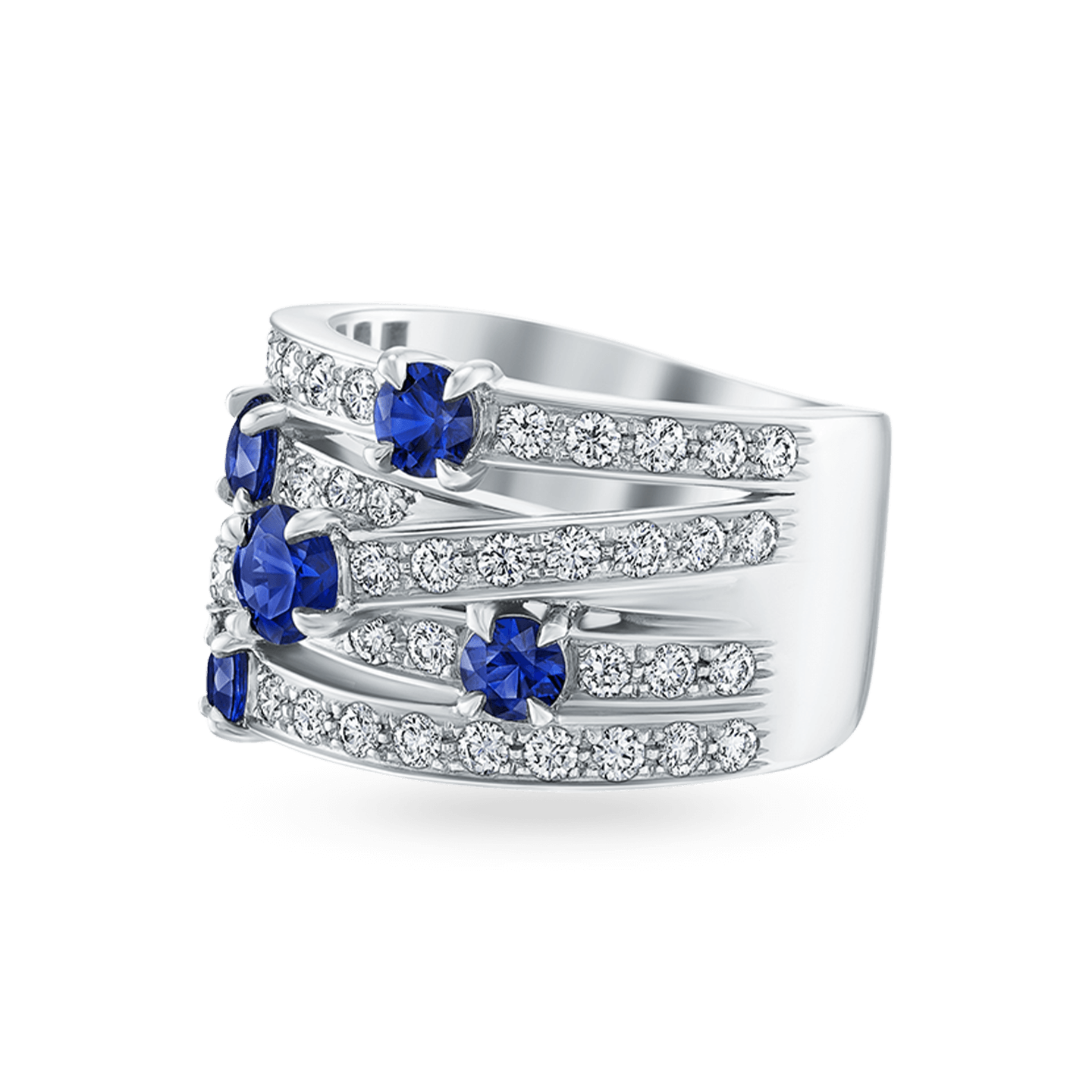 Crossover Sapphire 5-Row Ring, Product Image 2