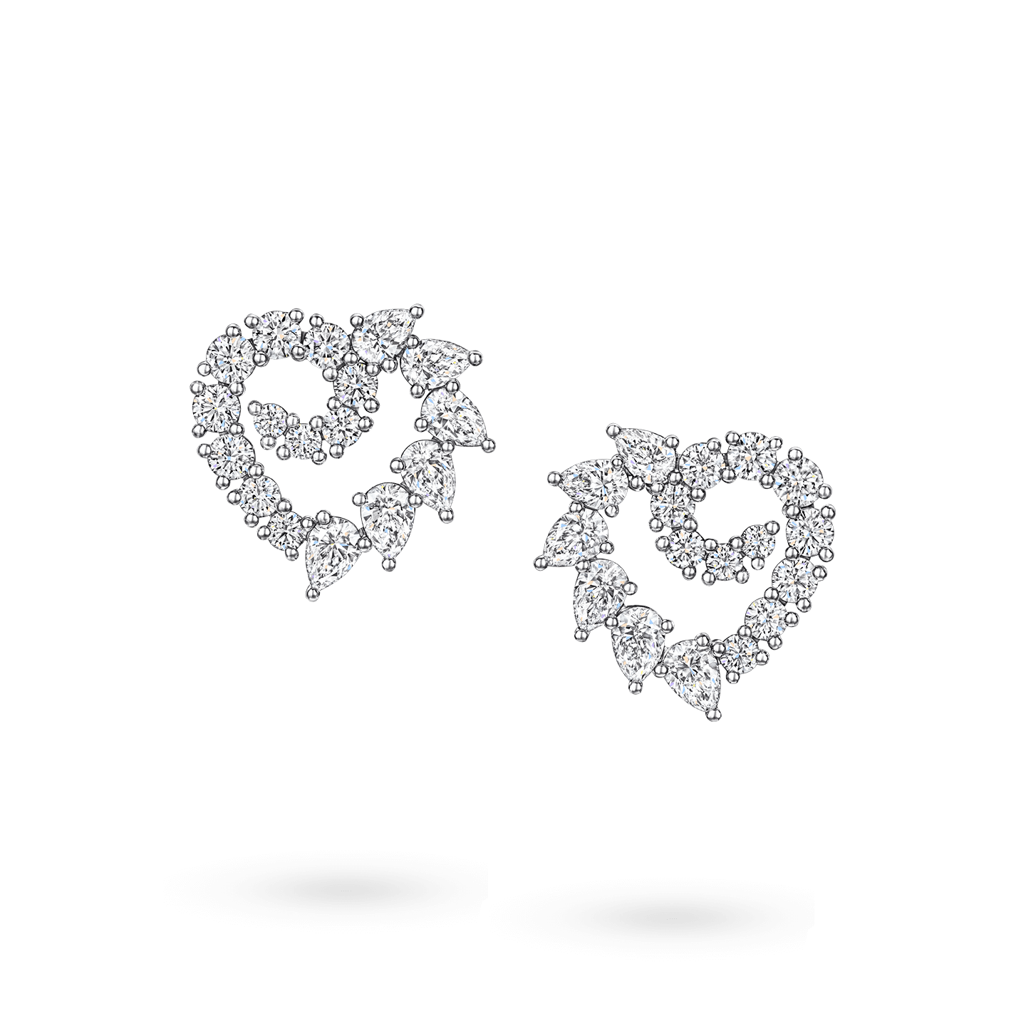 Garland Heart Diamond Earrings, Product Image 1