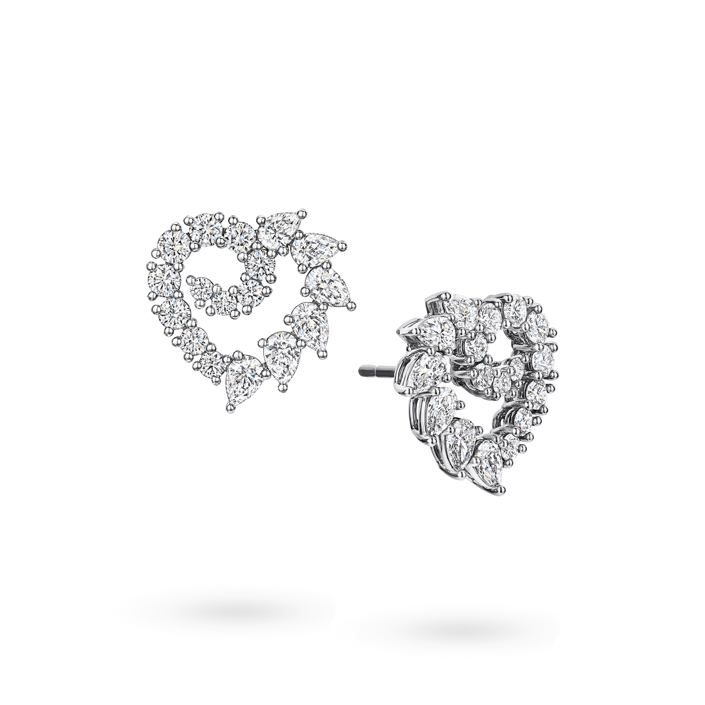Garland Heart Diamond Earrings, Product Image 2