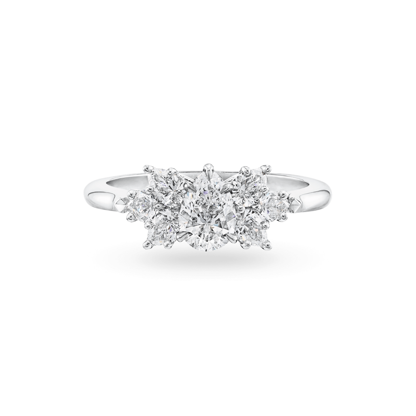 Pear-Shaped Cluster Diamond Engagement Ring, Product Image 1
