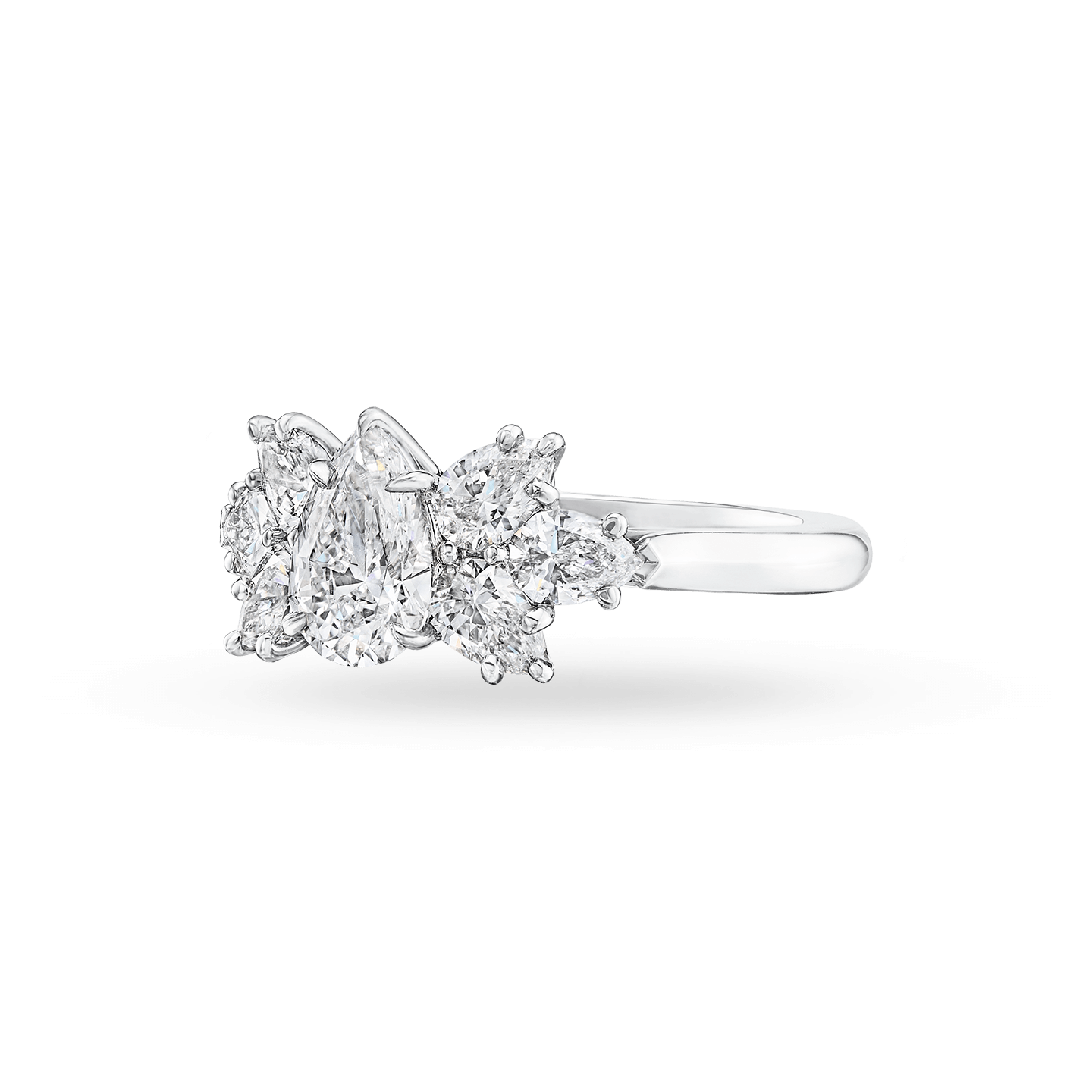 Pear-Shaped Cluster Diamond Engagement Ring, Product Image 3