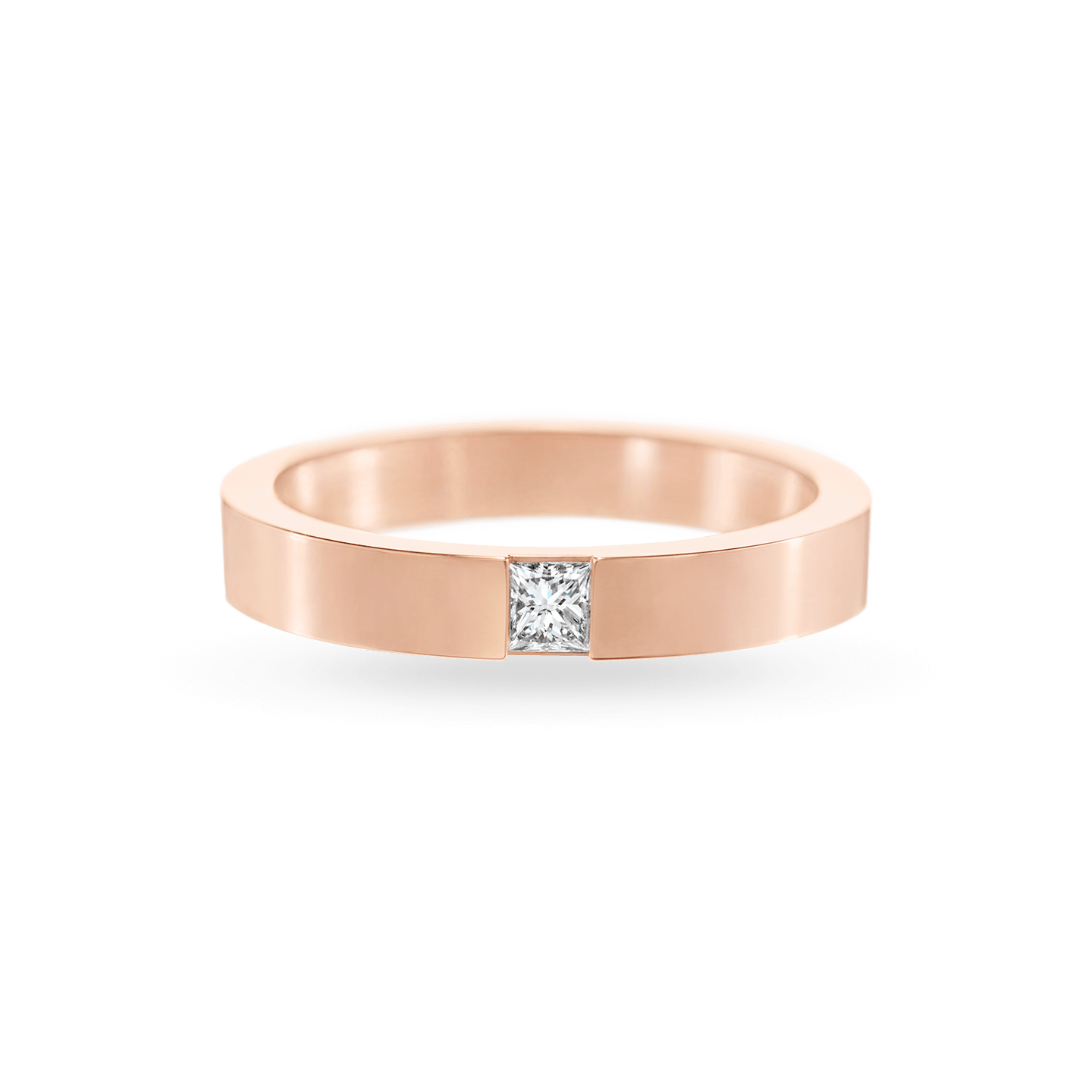 Princess-Cut Single Diamond Wedding Band in Rose Gold, Product Image 1
