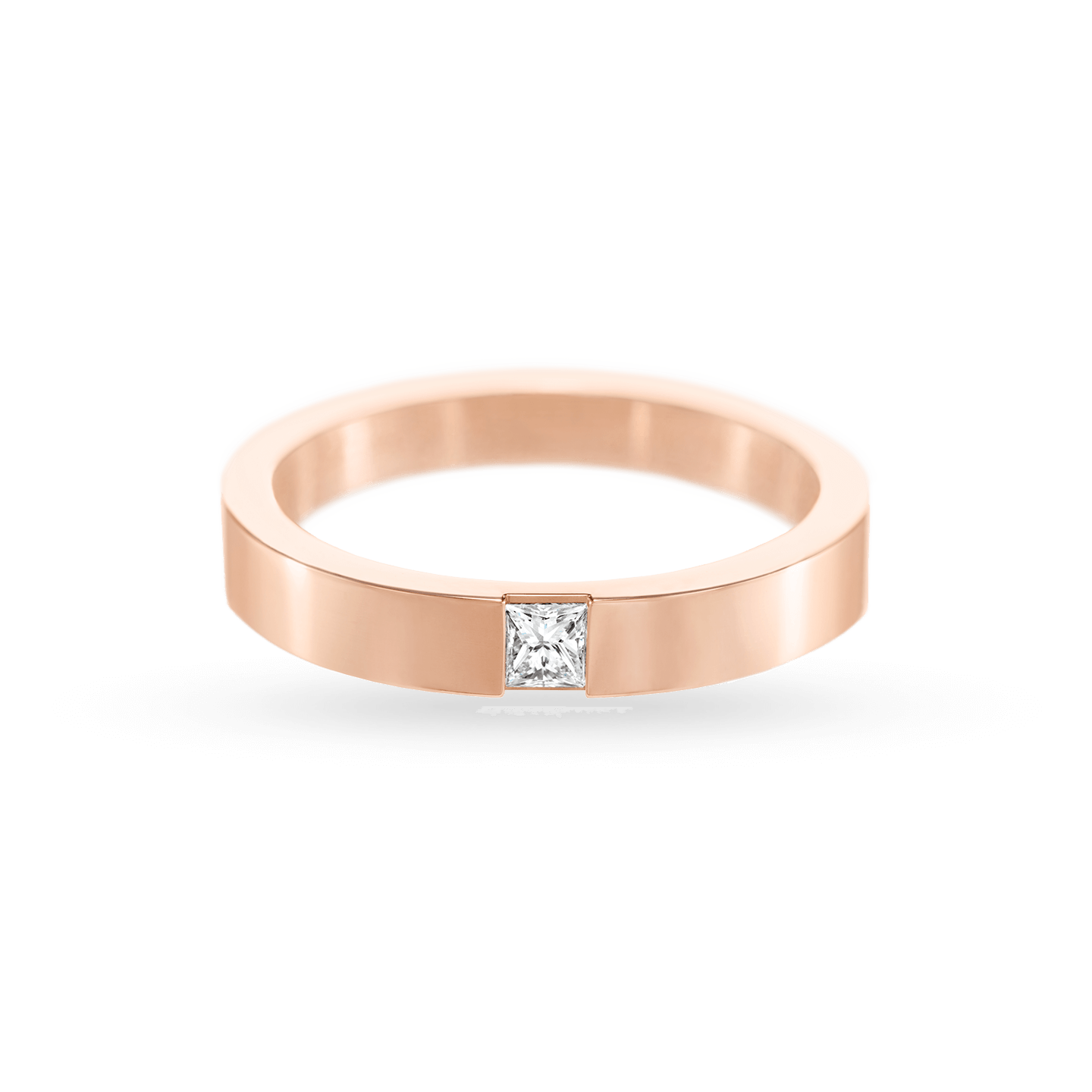 Princess-Cut Single Diamond Wedding Band in Rose Gold, Product Image 2