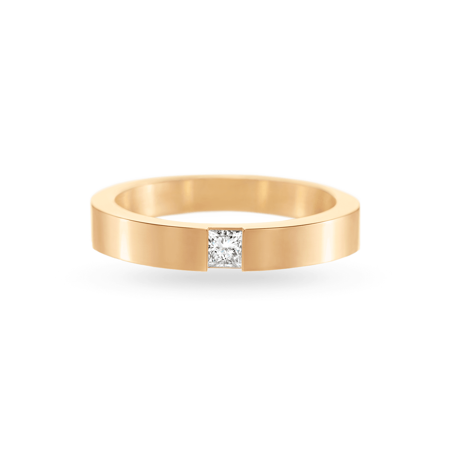 Princess-Cut Single Diamond Wedding Band in Yellow Gold, Product Image 1